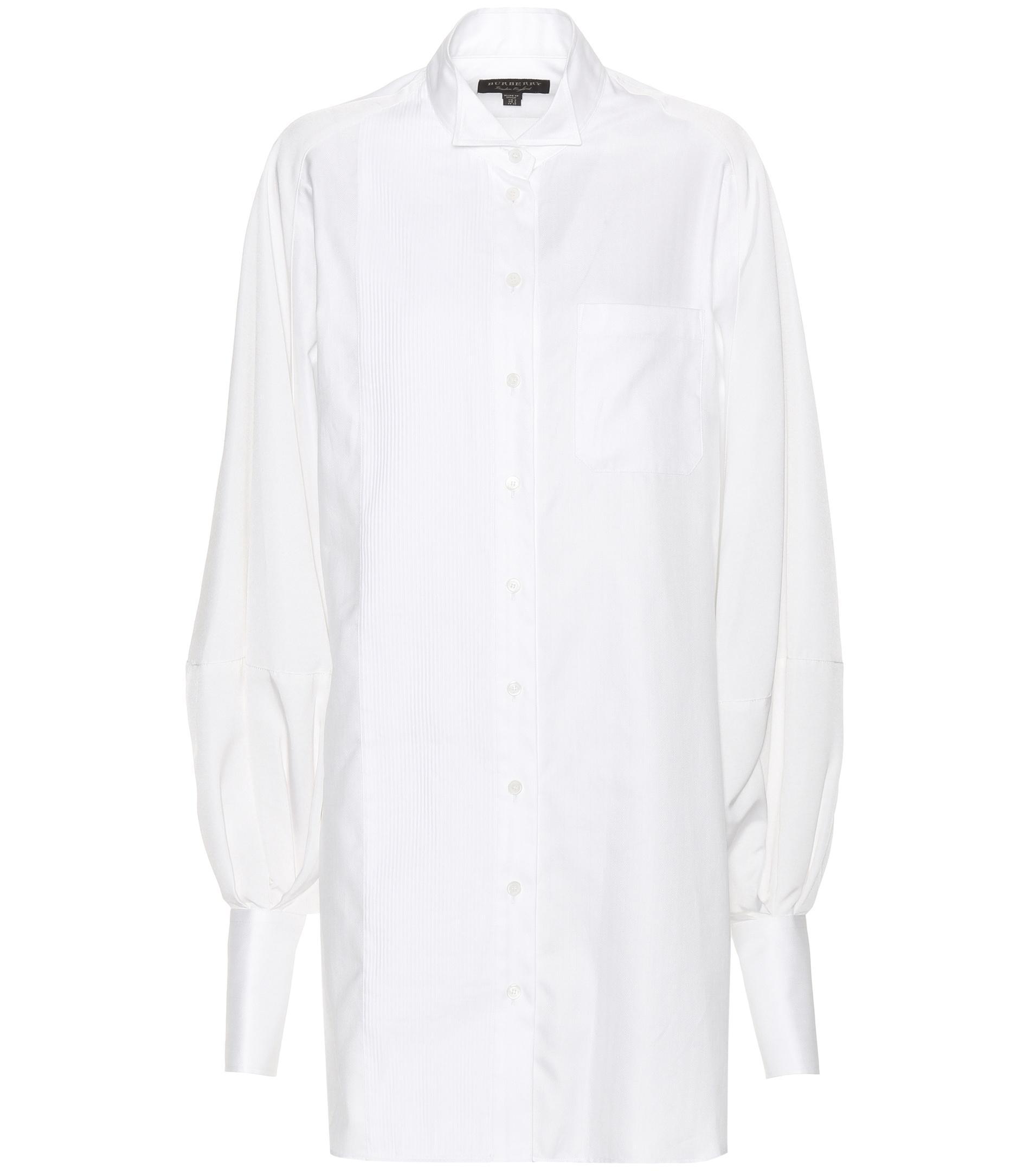 Burberry herringbone cotton shirt dress in white lyst for White herringbone dress shirt