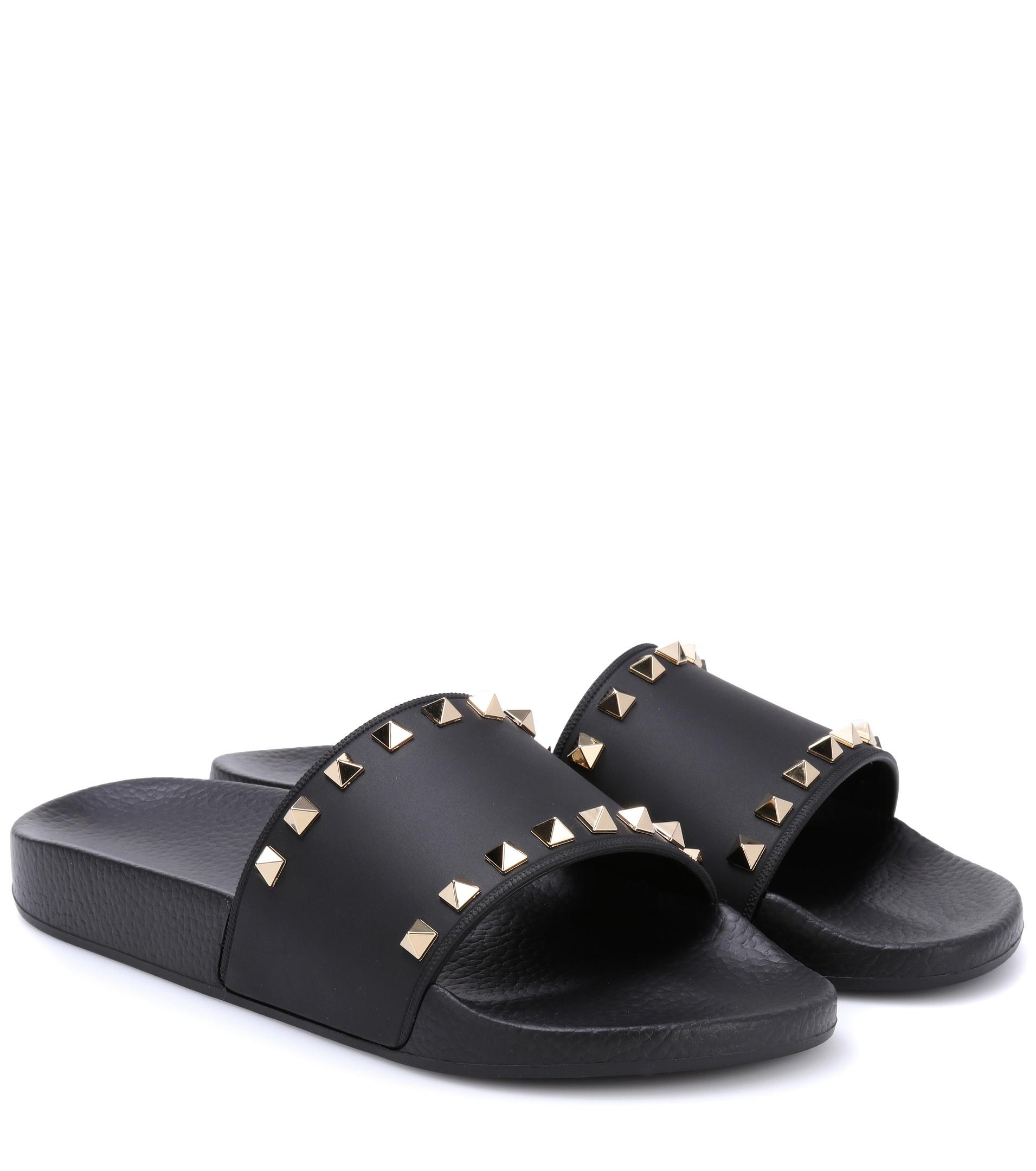 Lyst Valentino Garavani Rockstud Slides In Black