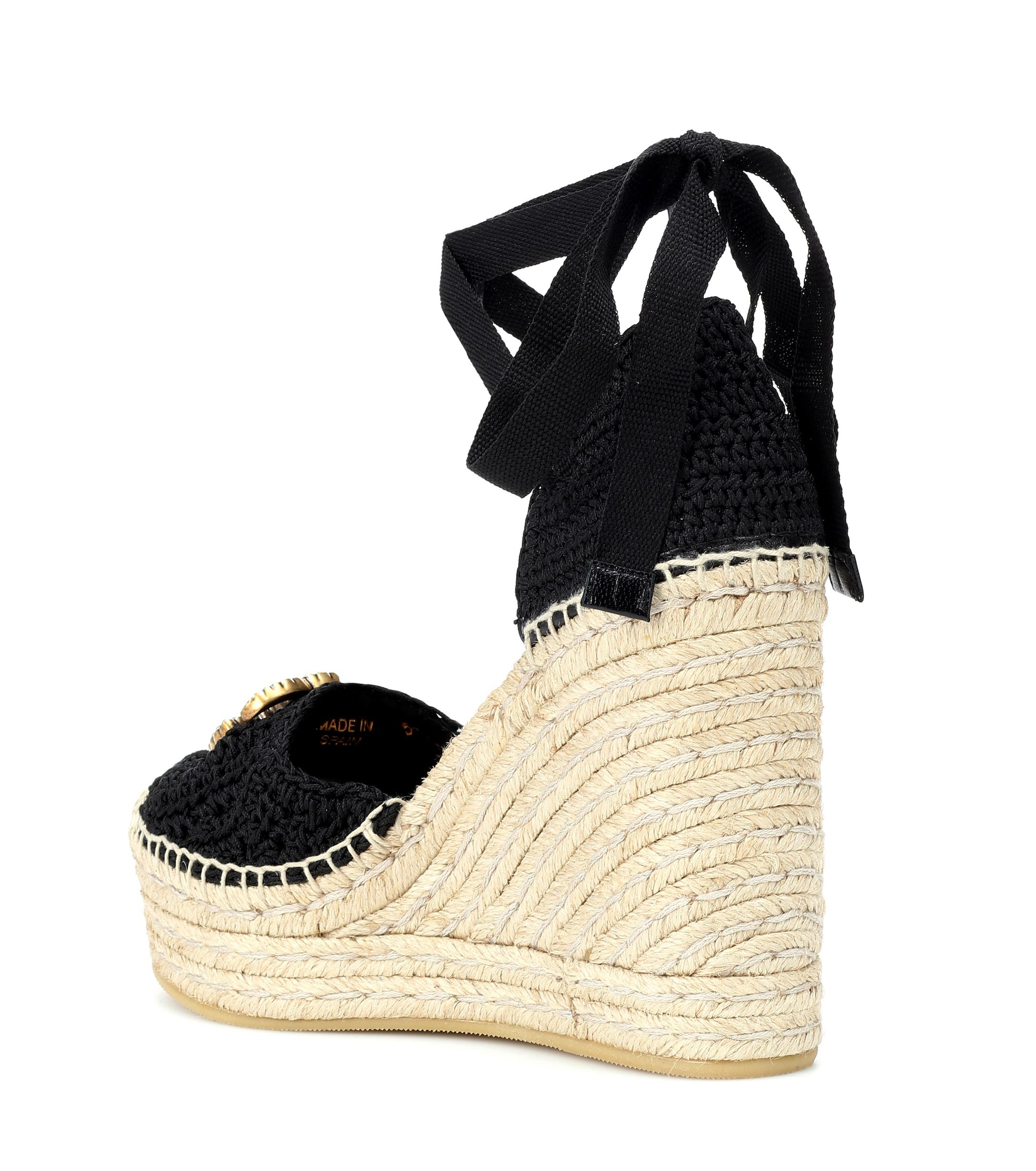 cba8e52d74a6 Gucci - Black Crochet Wedge Espadrilles - Lyst. View fullscreen