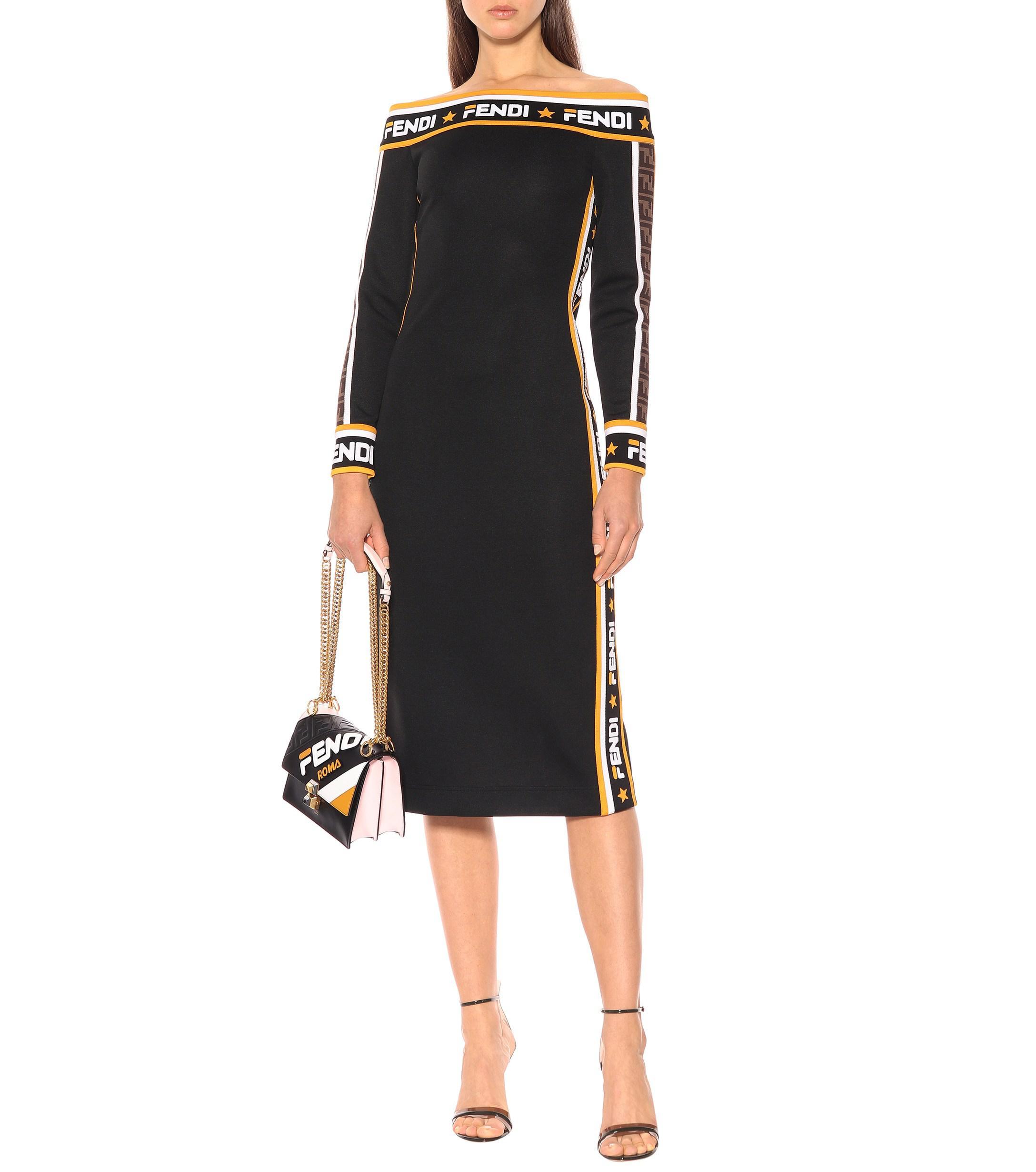 e2b93ca796c1 Fendi - Black Mania Jersey Midi Dress - Lyst. View fullscreen