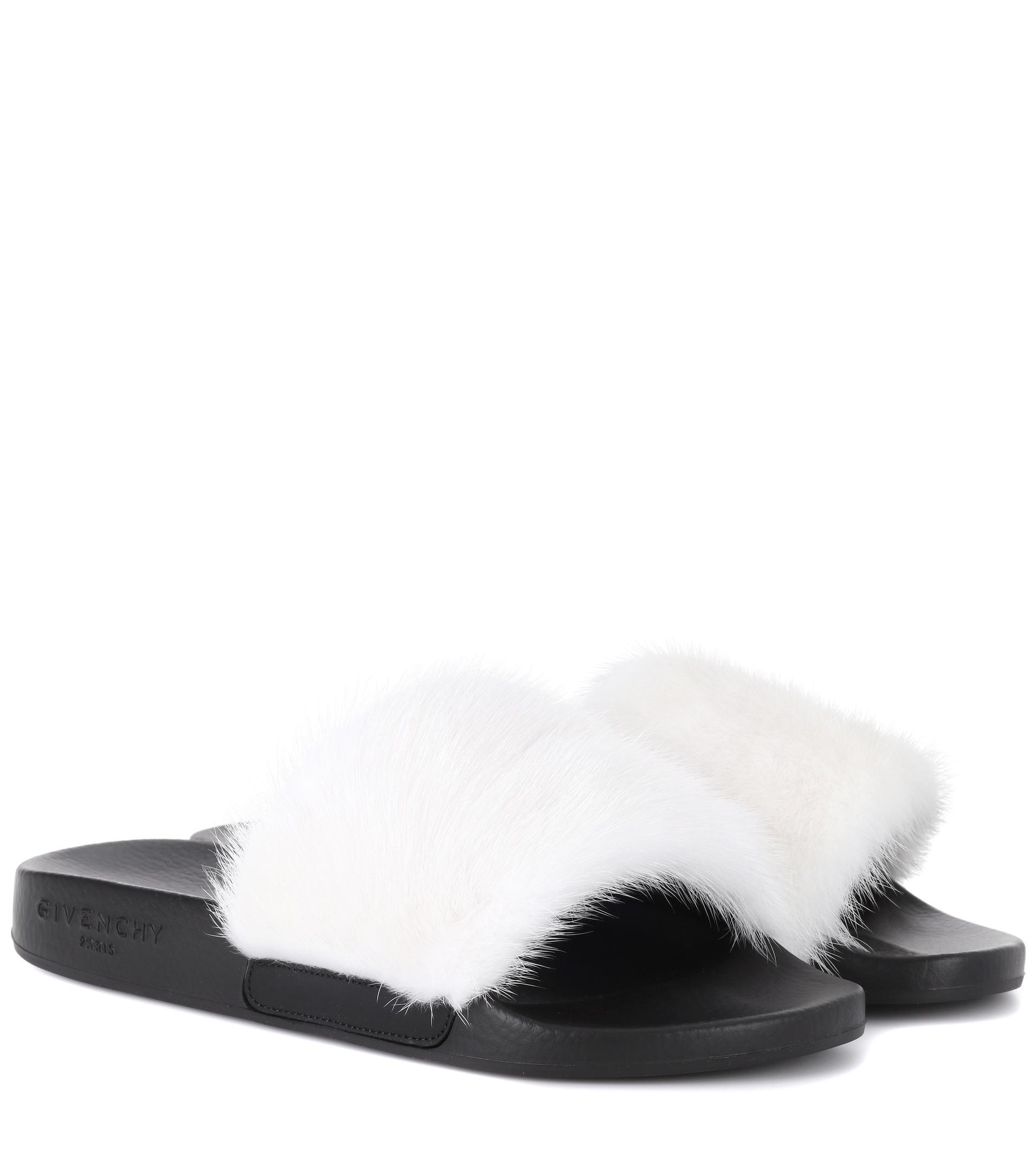 fb894ec6f45 Givenchy Mink Fur Slides in White - Save 41% - Lyst
