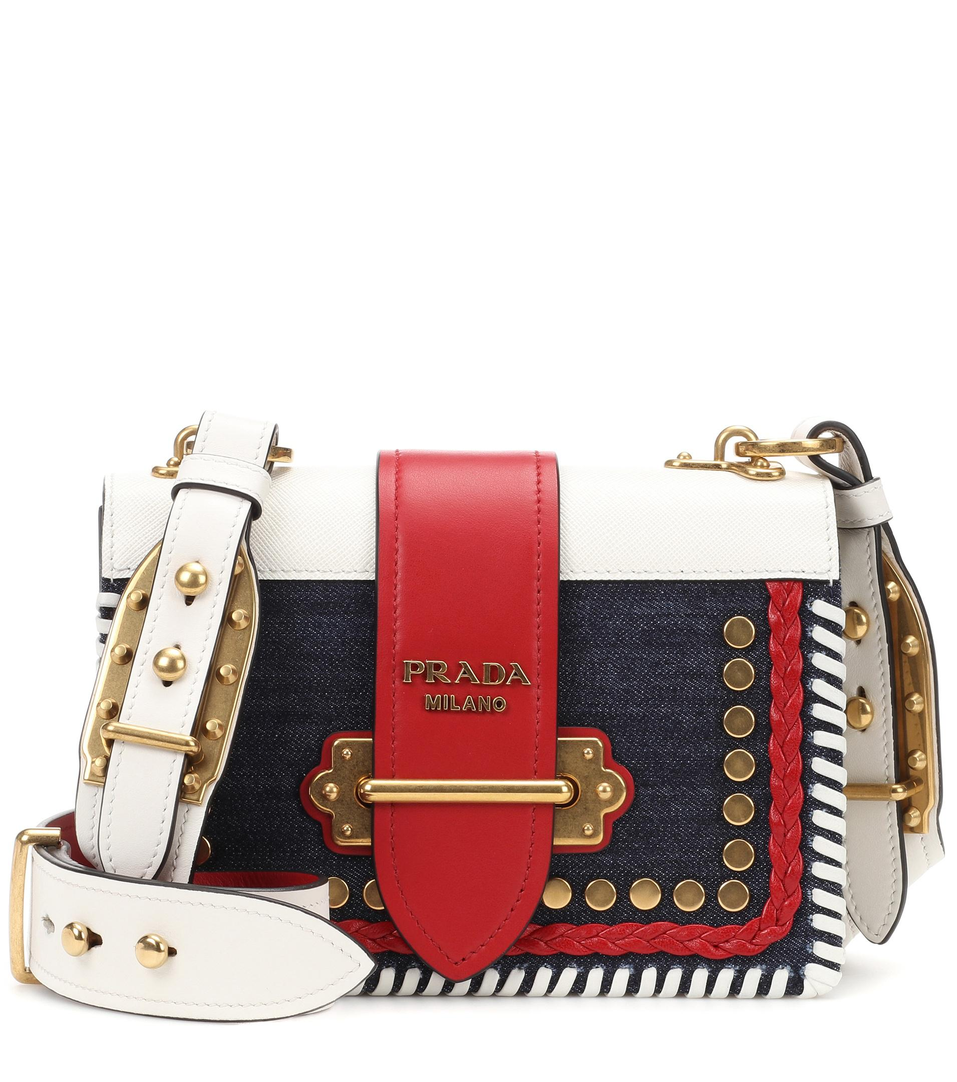 d964110995a4 promo code for prada cahier denim and leather shoulder bag lyst 43bc0 357a0