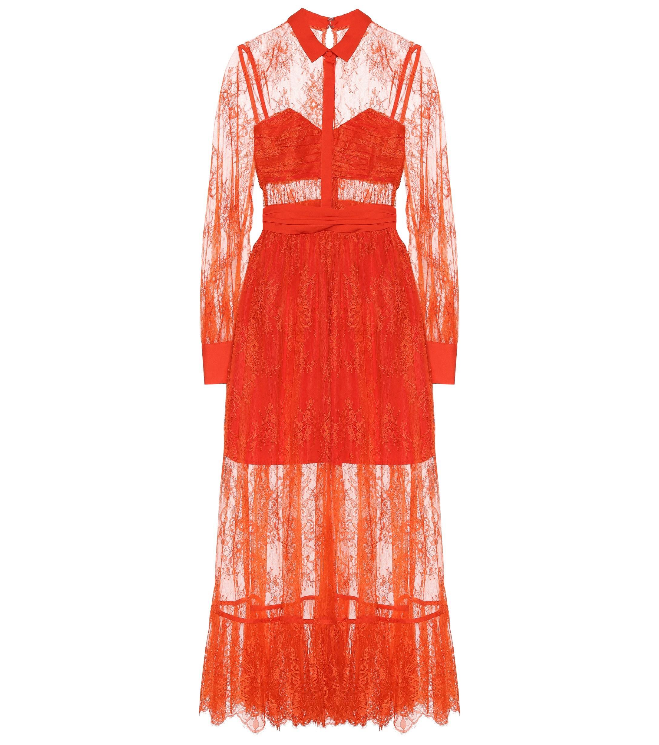771ee84c182 Self-Portrait - Red Lace Midi Dress - Lyst. View fullscreen