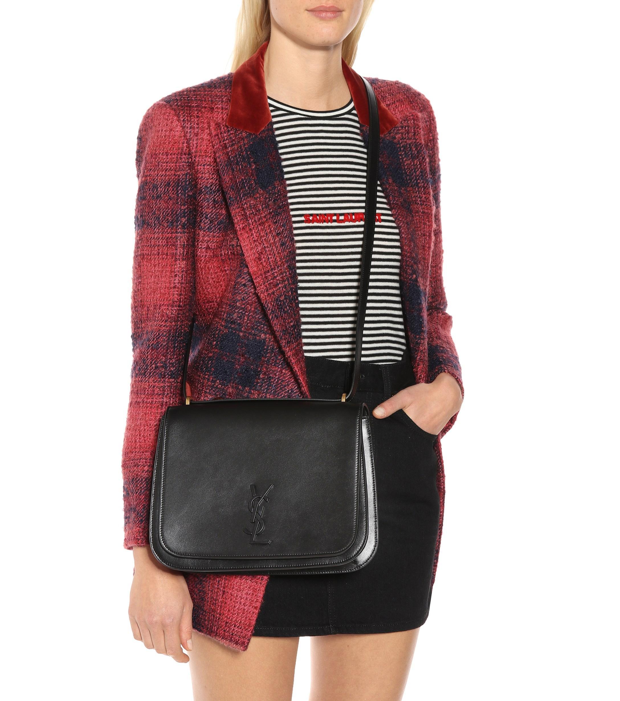 0e99a34398 Saint Laurent - Black Medium Spontini Leather Shoulder Bag - Lyst. View  fullscreen