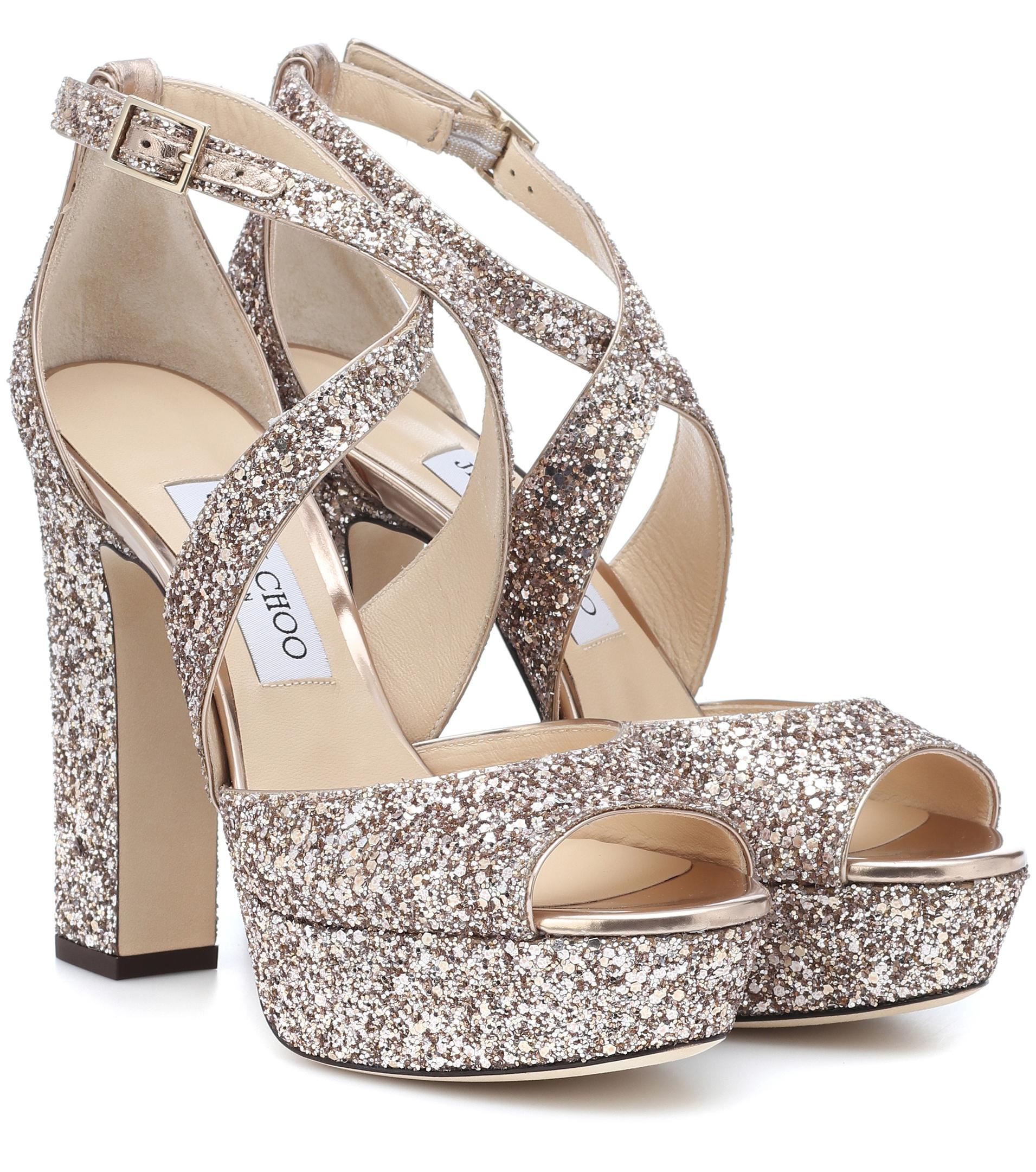 35d1f93d904 Jimmy Choo April 120 Glitter Plateau Sandals in Pink - Lyst