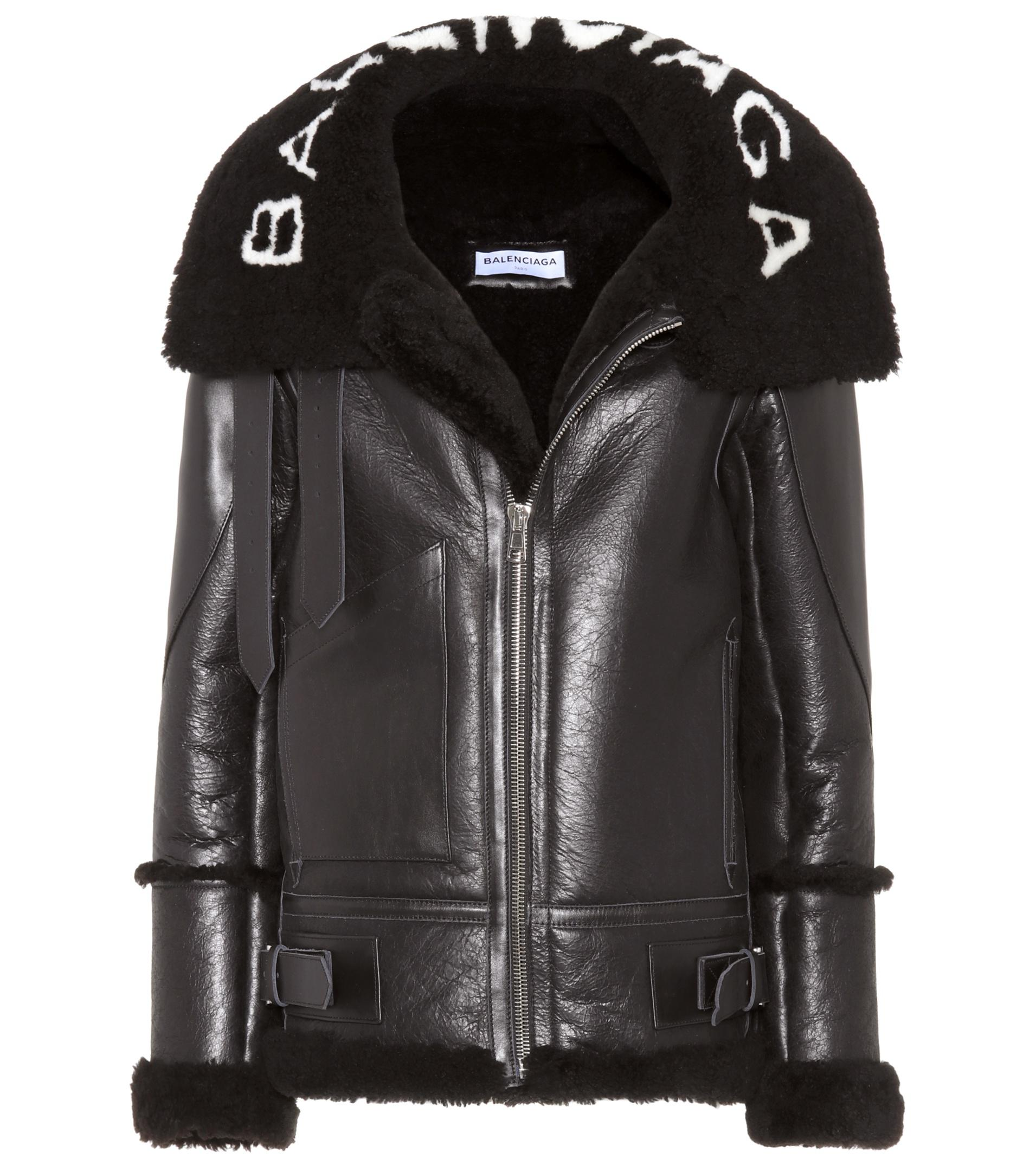 74245b2bdecdd Lyst - Balenciaga Leather Shearling-lined Jacket in Black