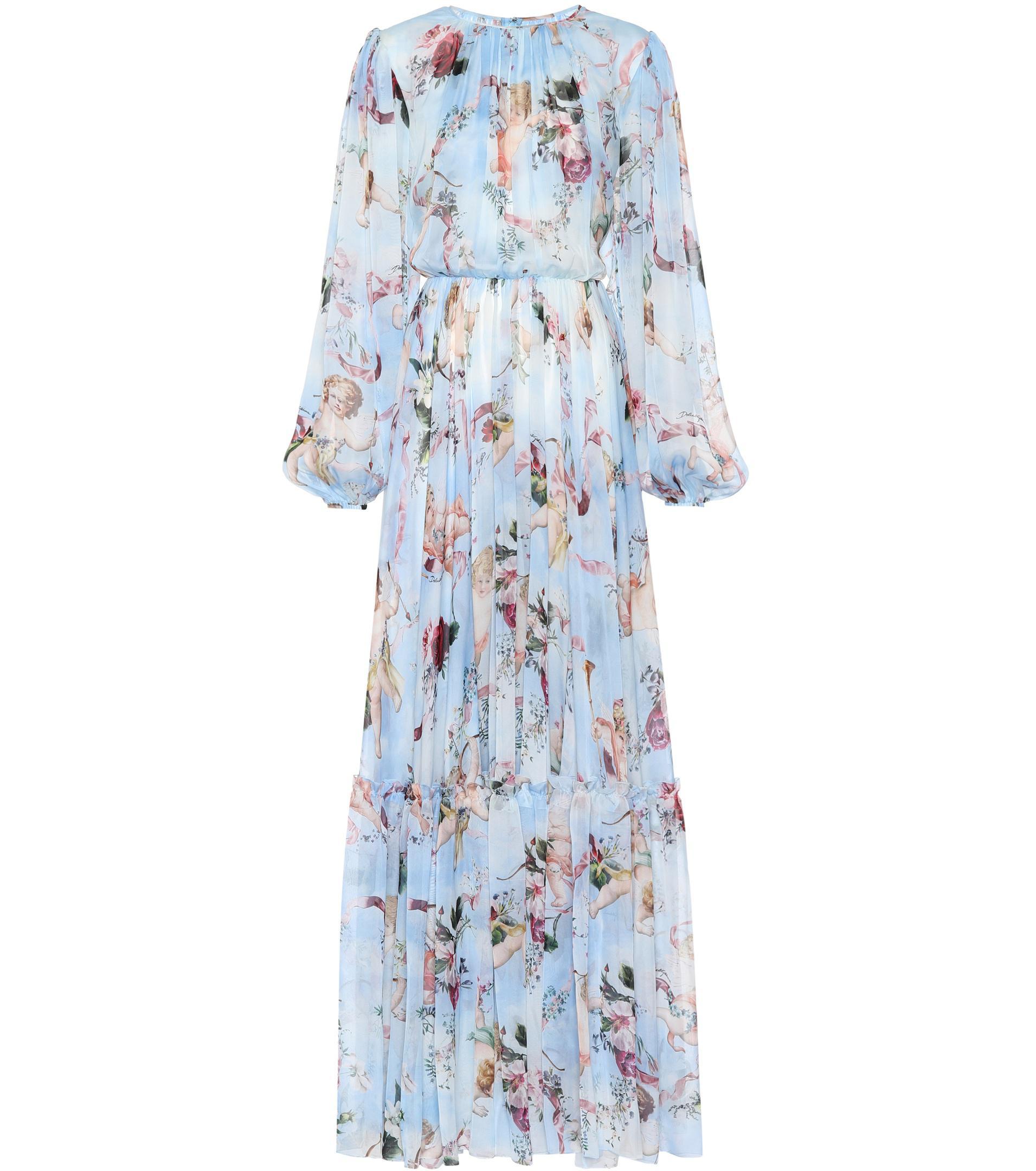 3ae9a632 Dolce & Gabbana Printed Silk Chiffon Jumpsuit in Blue - Lyst