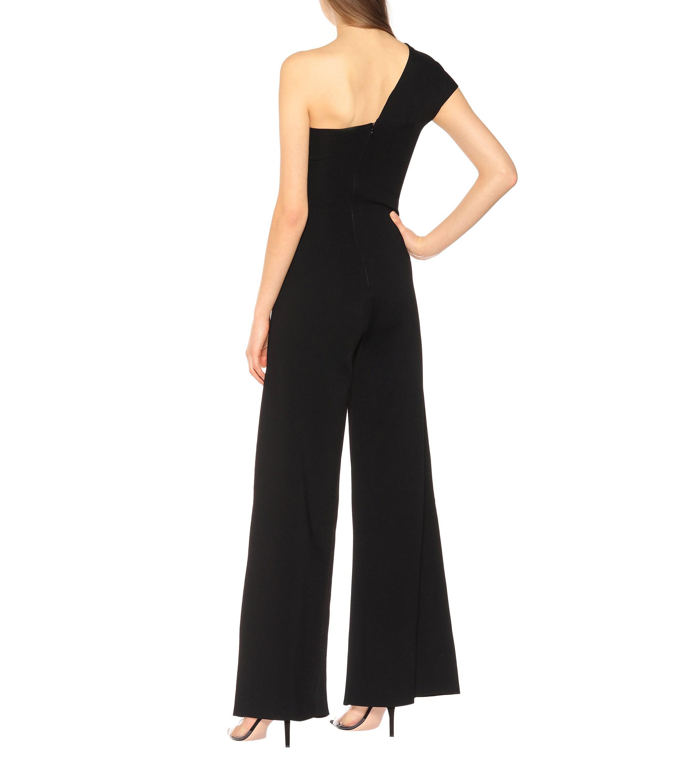 7812a8749538 Stella McCartney - Black One-shoulder Crêpe Jumpsuit - Lyst. View fullscreen