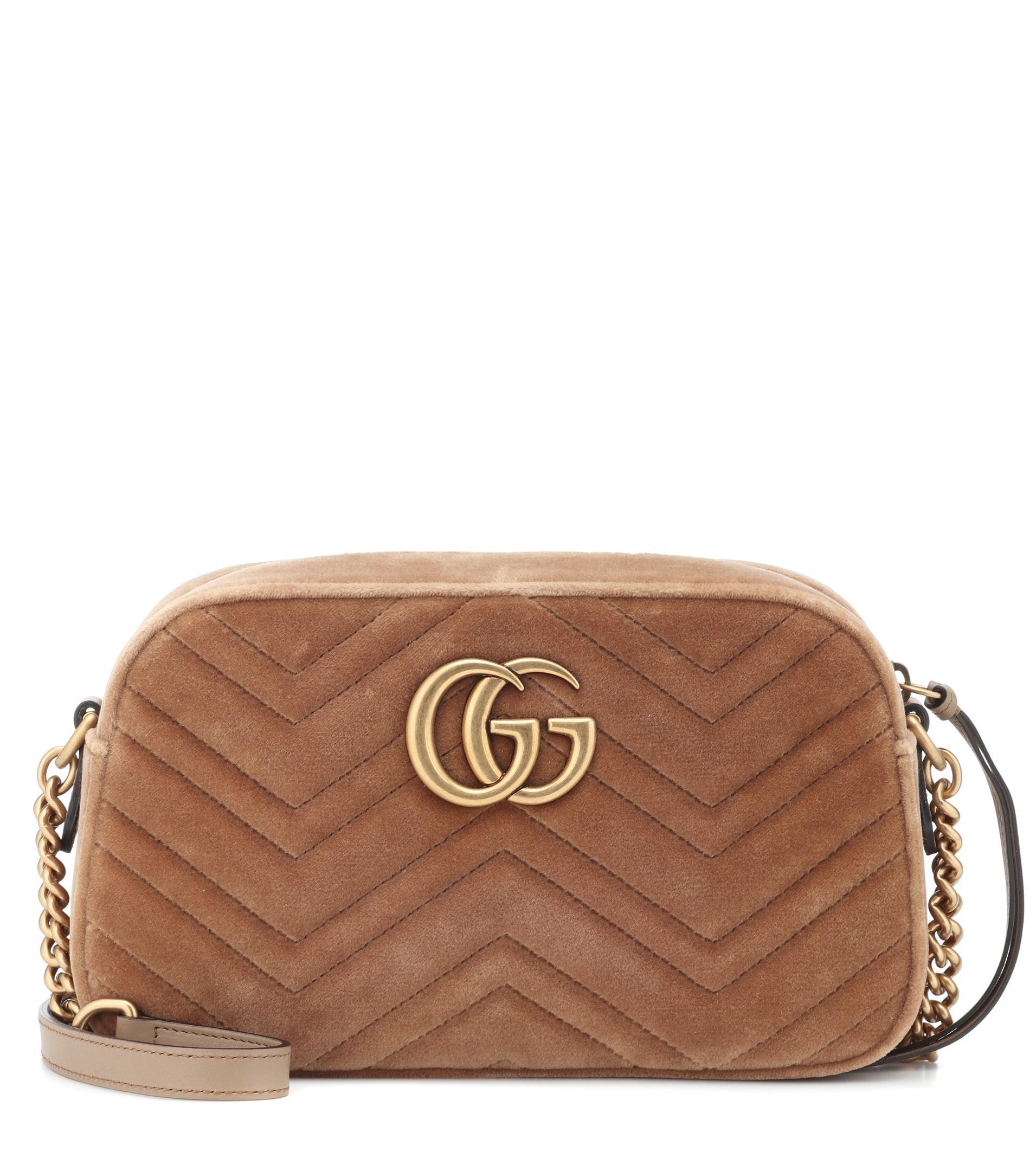 Lyst - Sac en velours GG Marmont Small Gucci en coloris Neutre 3991c246b7b