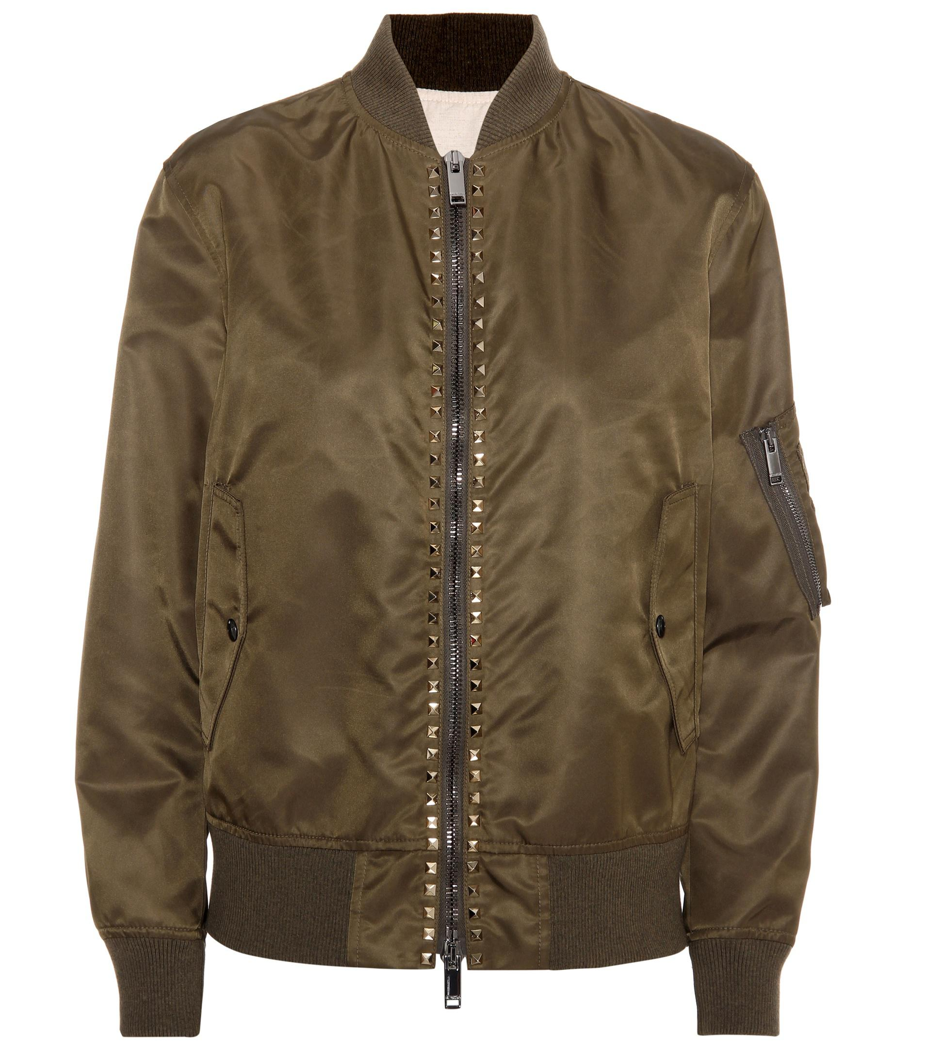 d03051bb76 Lyst - Valentino Rockstud Untitled Bomber Jacket in Green - Save 30.0%