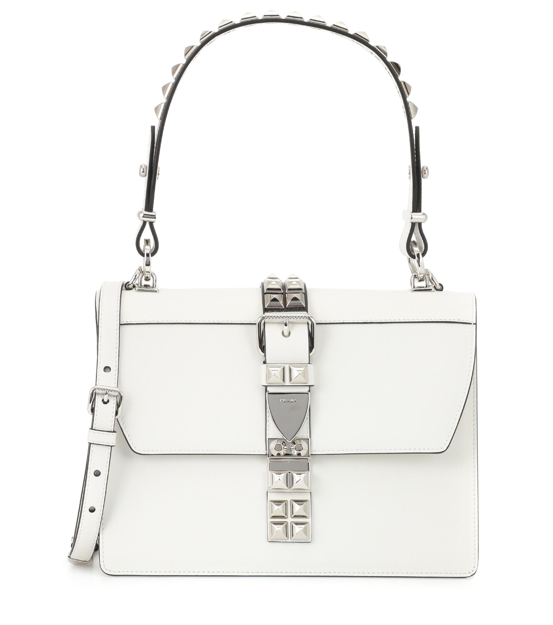 6fd347203792 Lyst - Prada Elektra Leather Shoulder Bag in White