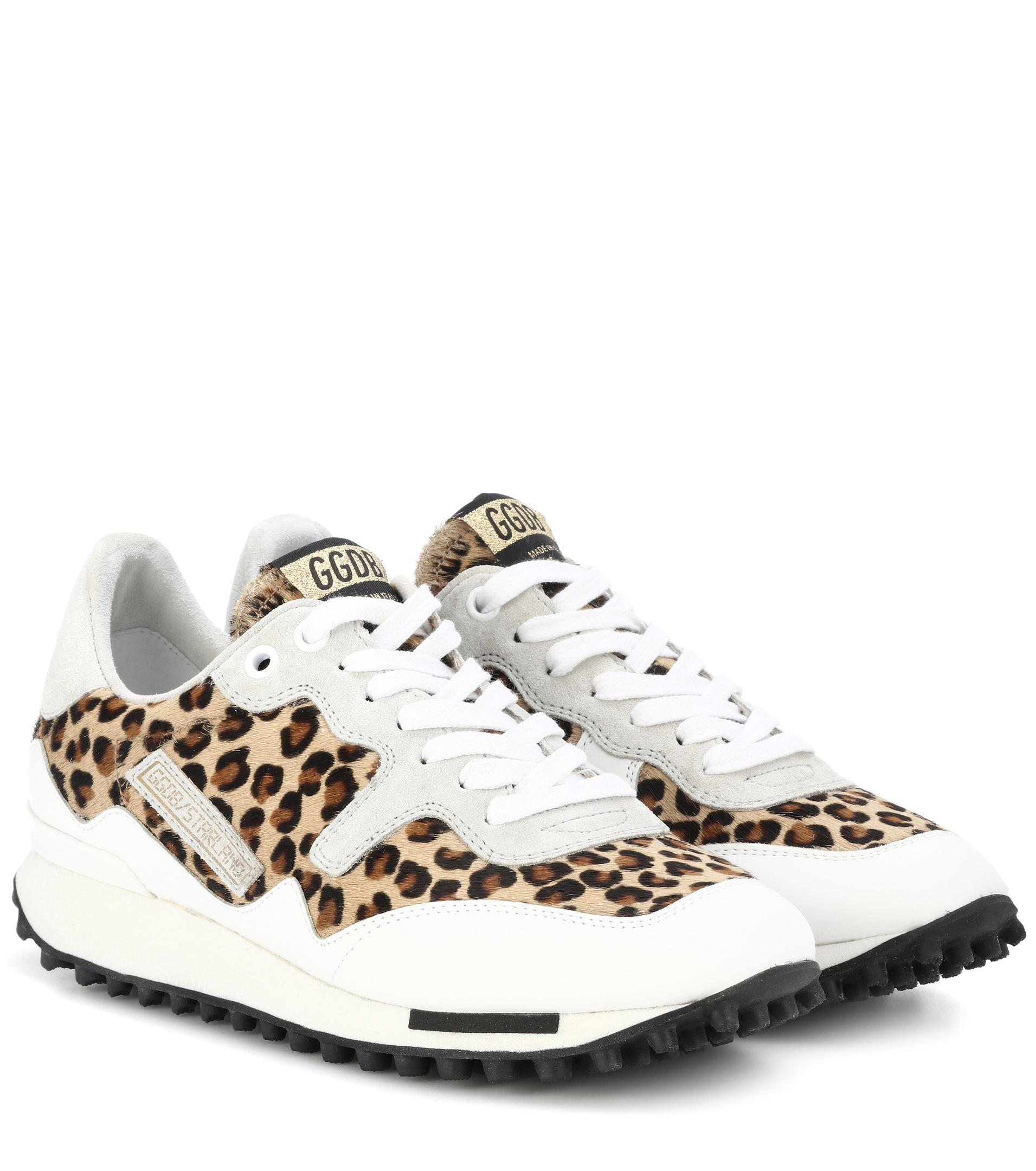 Starland Leopard-print Calf Hair, Suede And Leather Sneakers - Leopard print Golden Goose
