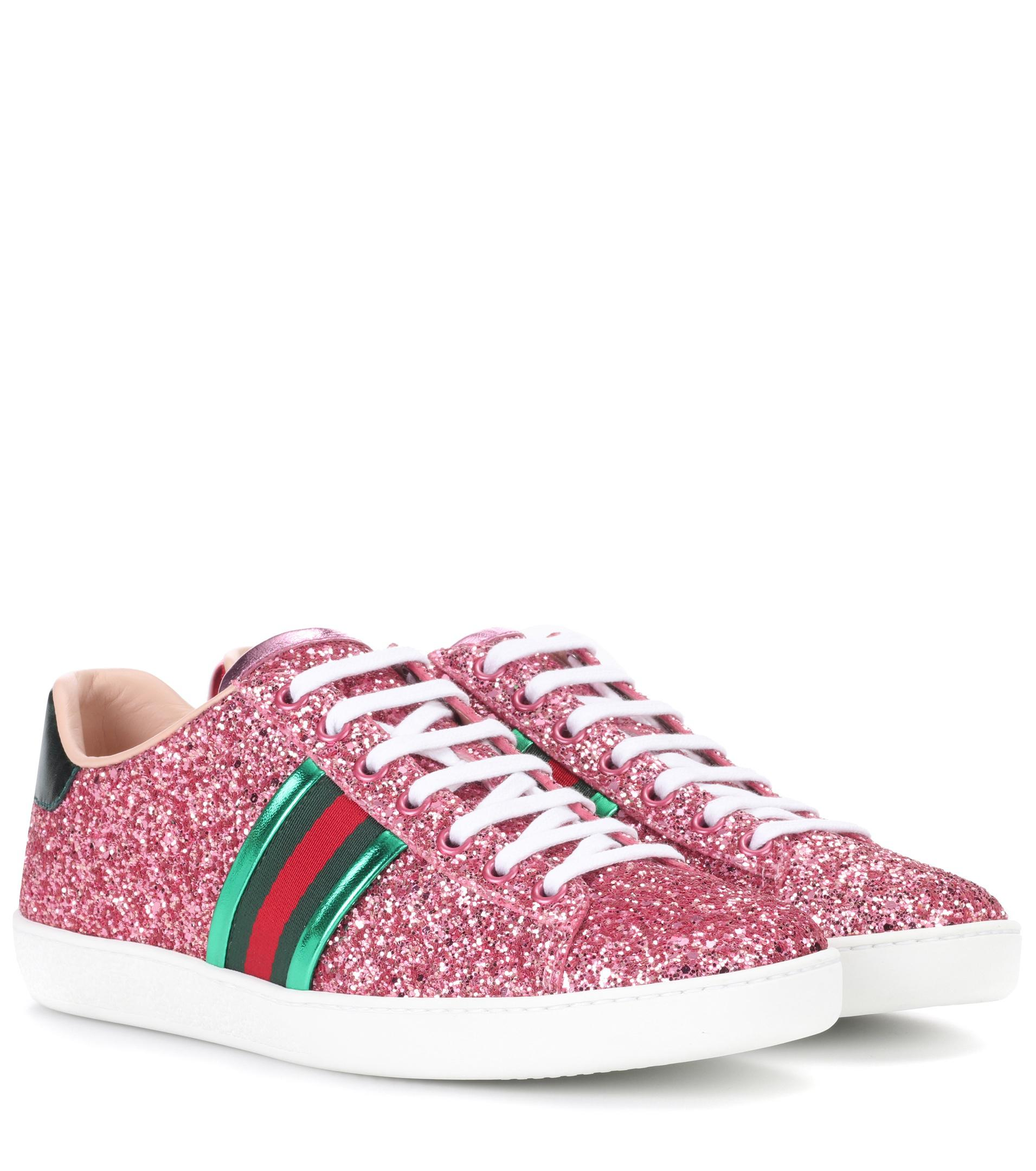 bf75367998e Lyst - Gucci Ace Glitter Sneakers in Pink