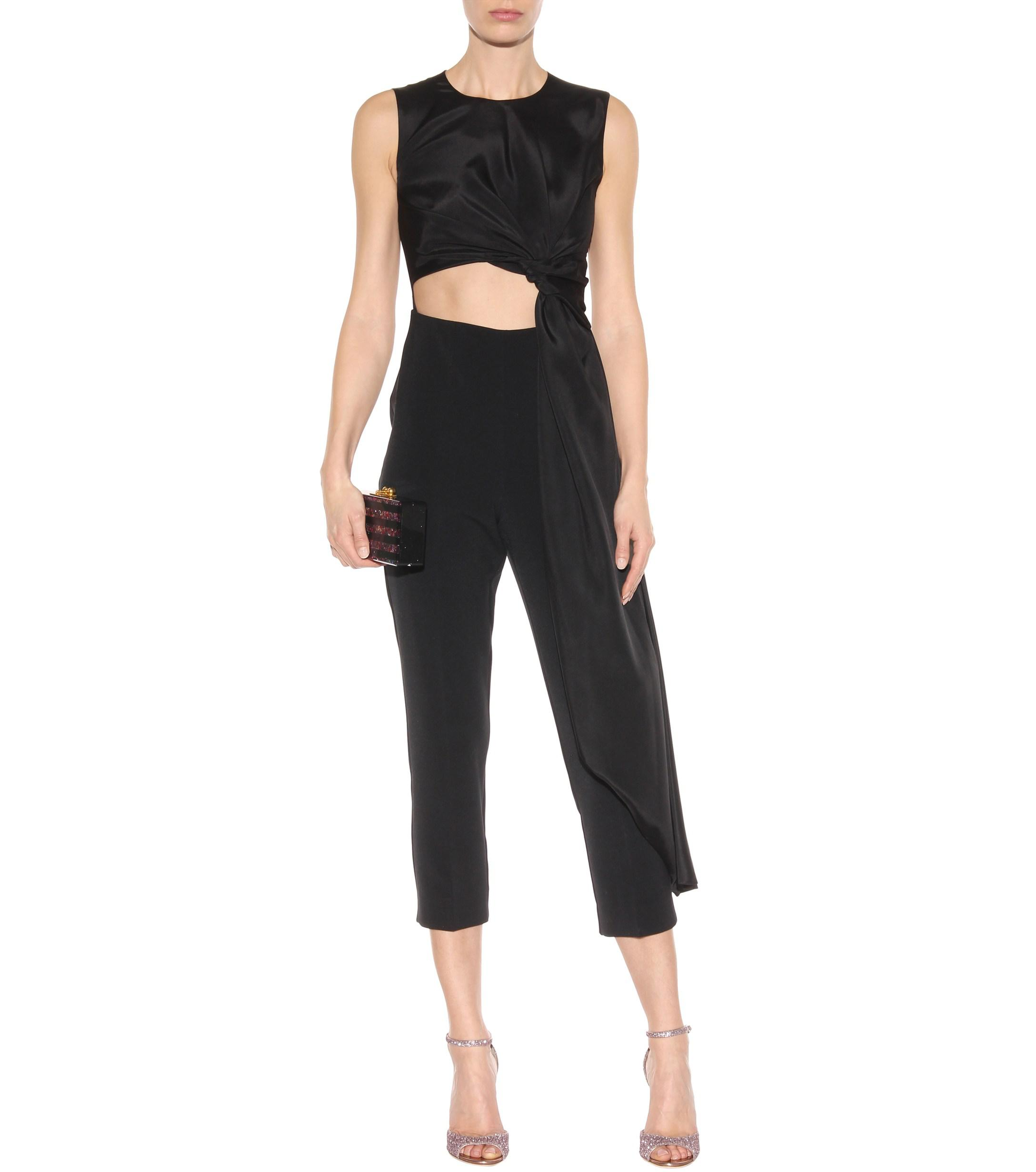 812723ab66c Roksanda - Black Thurloe Cut-out Jersey And Crêpe Jumpsuit - Lyst. View  fullscreen