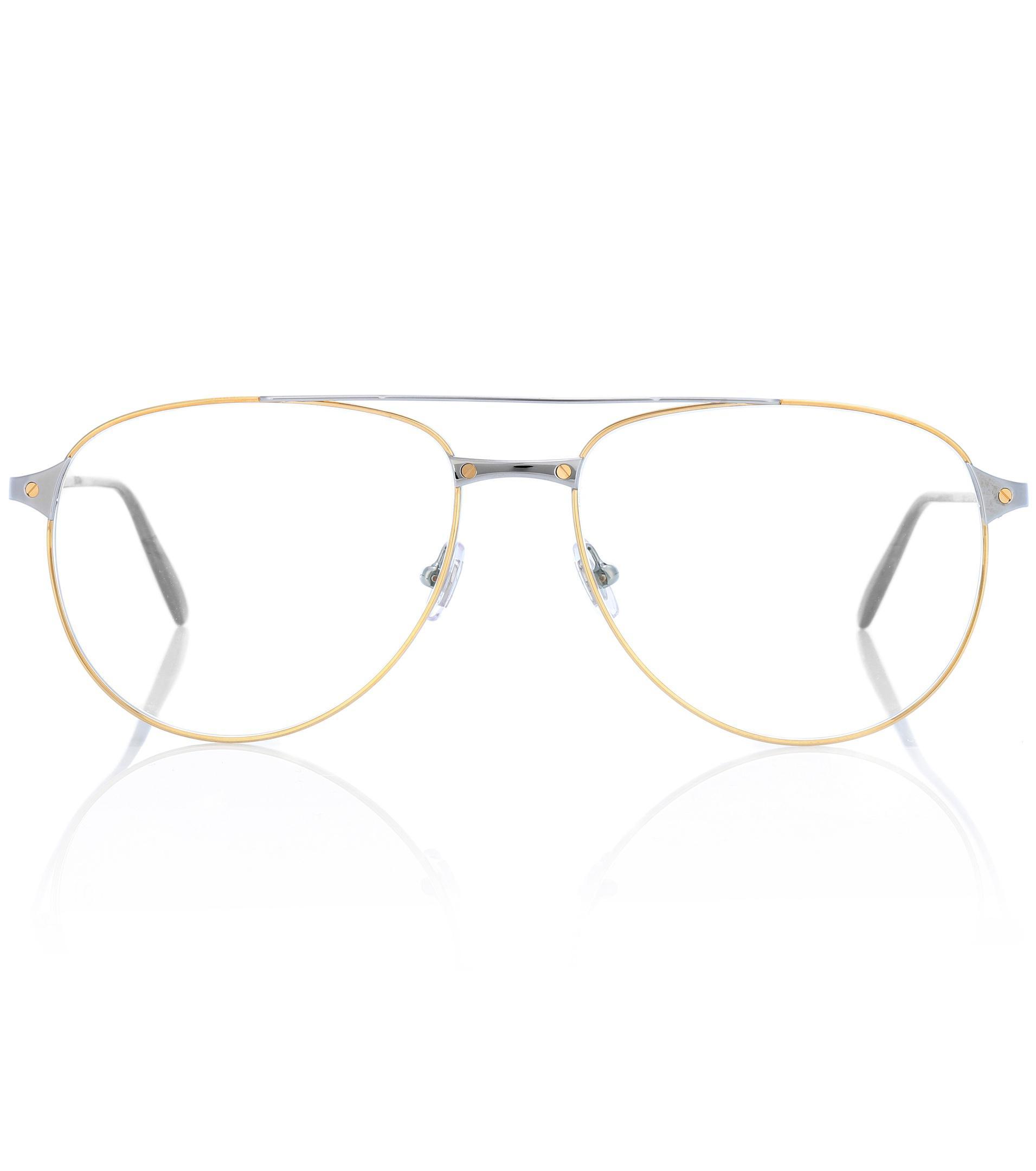 4ca13b8102 Lyst - Cartier Santos De Cartier Aviator Glasses in Metallic