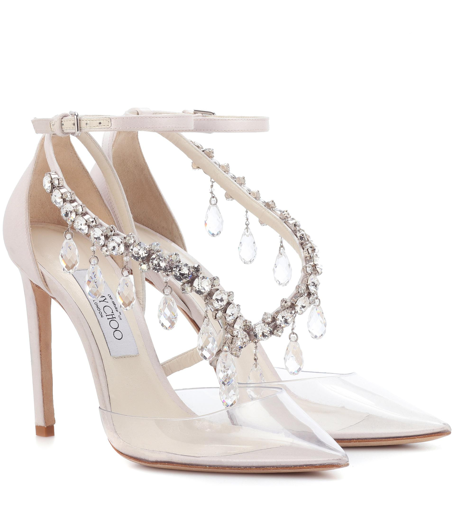 c9137a33d7b ... spain lyst jimmy choo x off white victoria 100 embellished satin pumps  3be73 ad01f