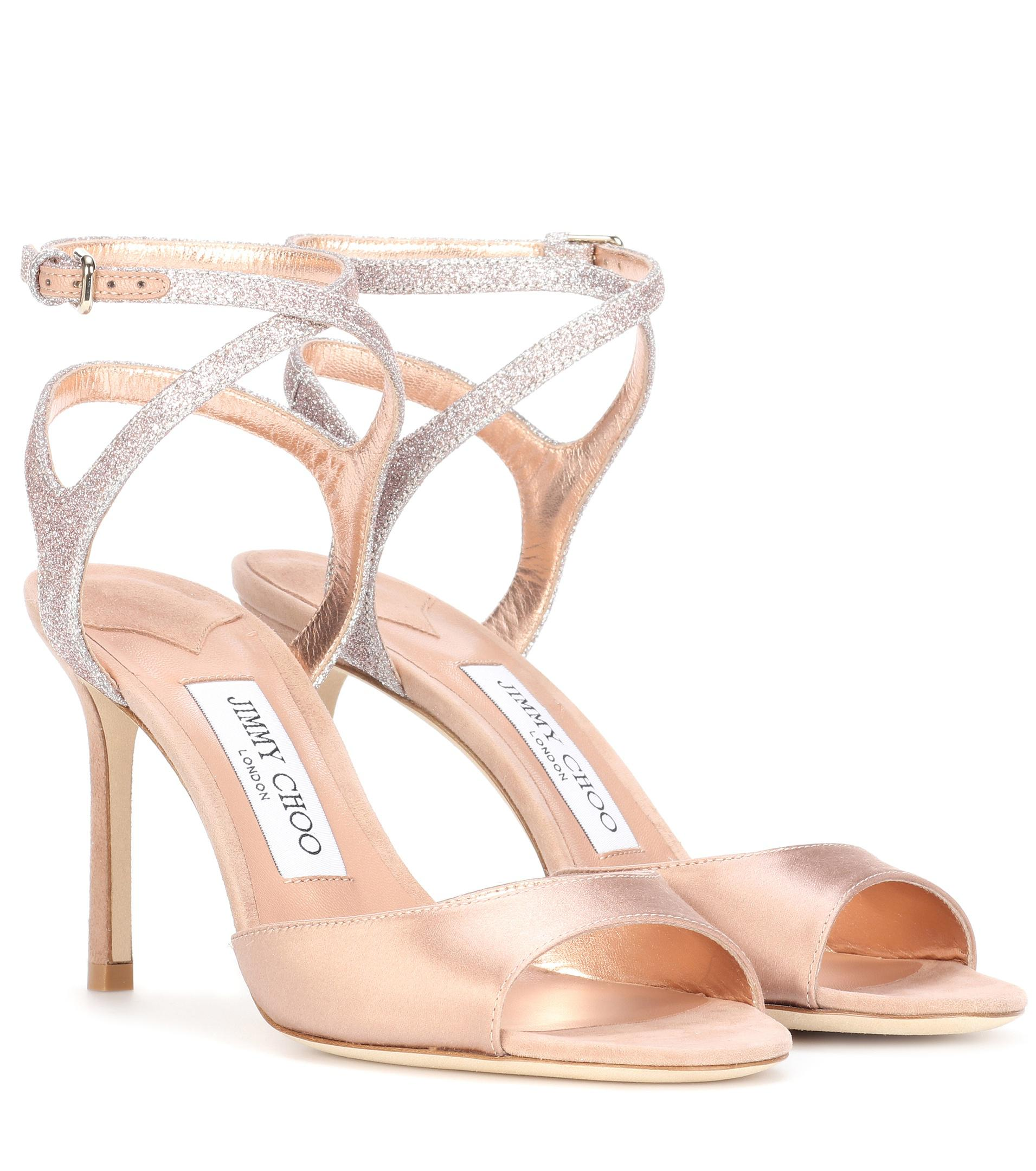 96a3a2b978fa Jimmy Choo Helen 85 Satin And Glitter Sandals in Pink - Lyst
