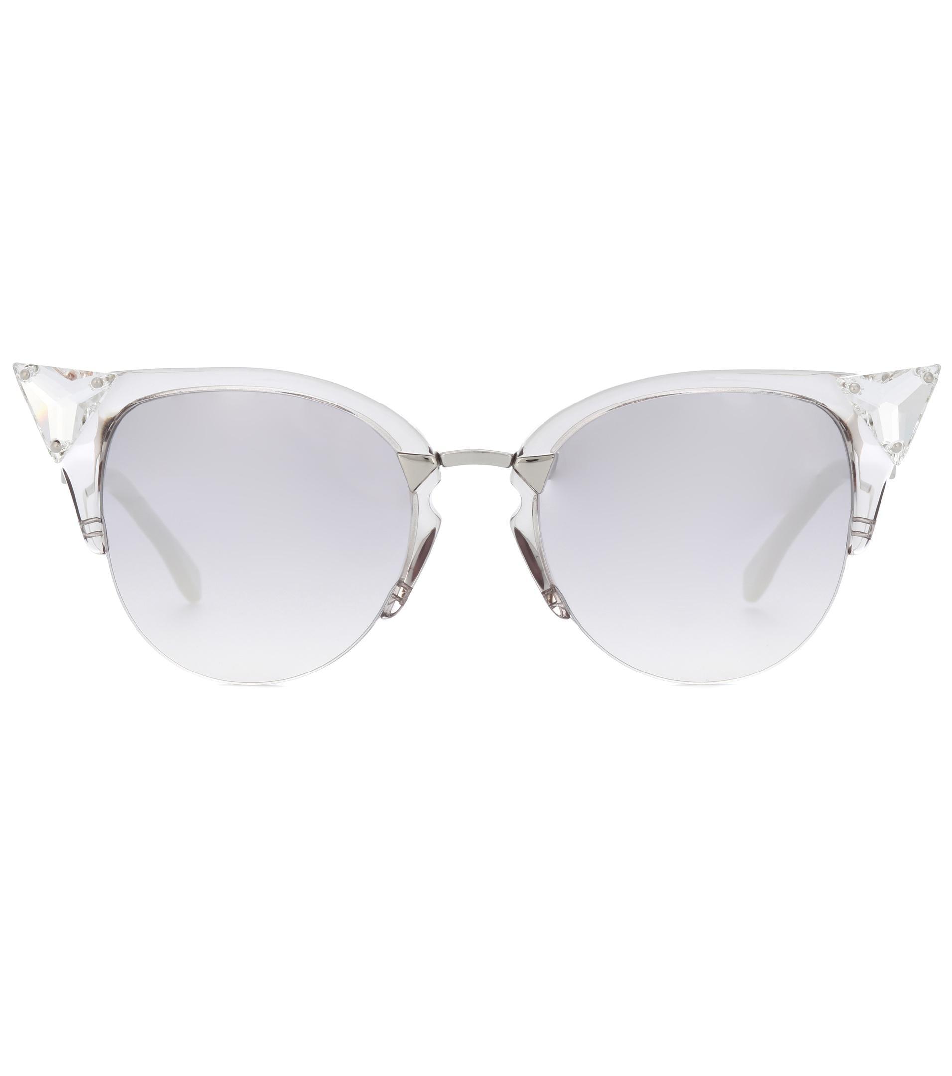 24aeb1b1e4 Lyst - Fendi Iridia Browline Sunglasses in Gray
