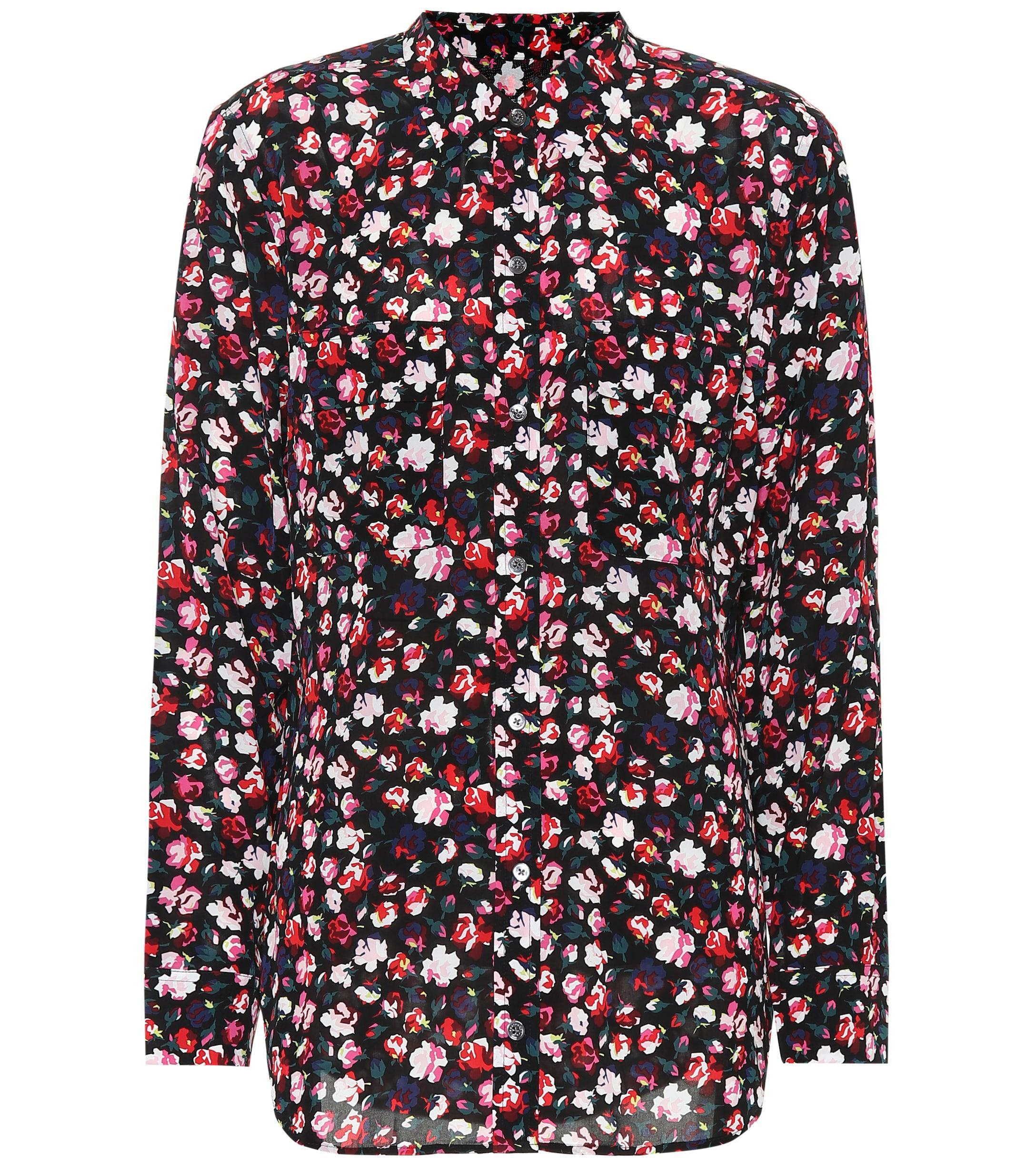 fbafef0a2827f Lyst - Equipment Floral Crêpe Shirt in Black - Save 48%