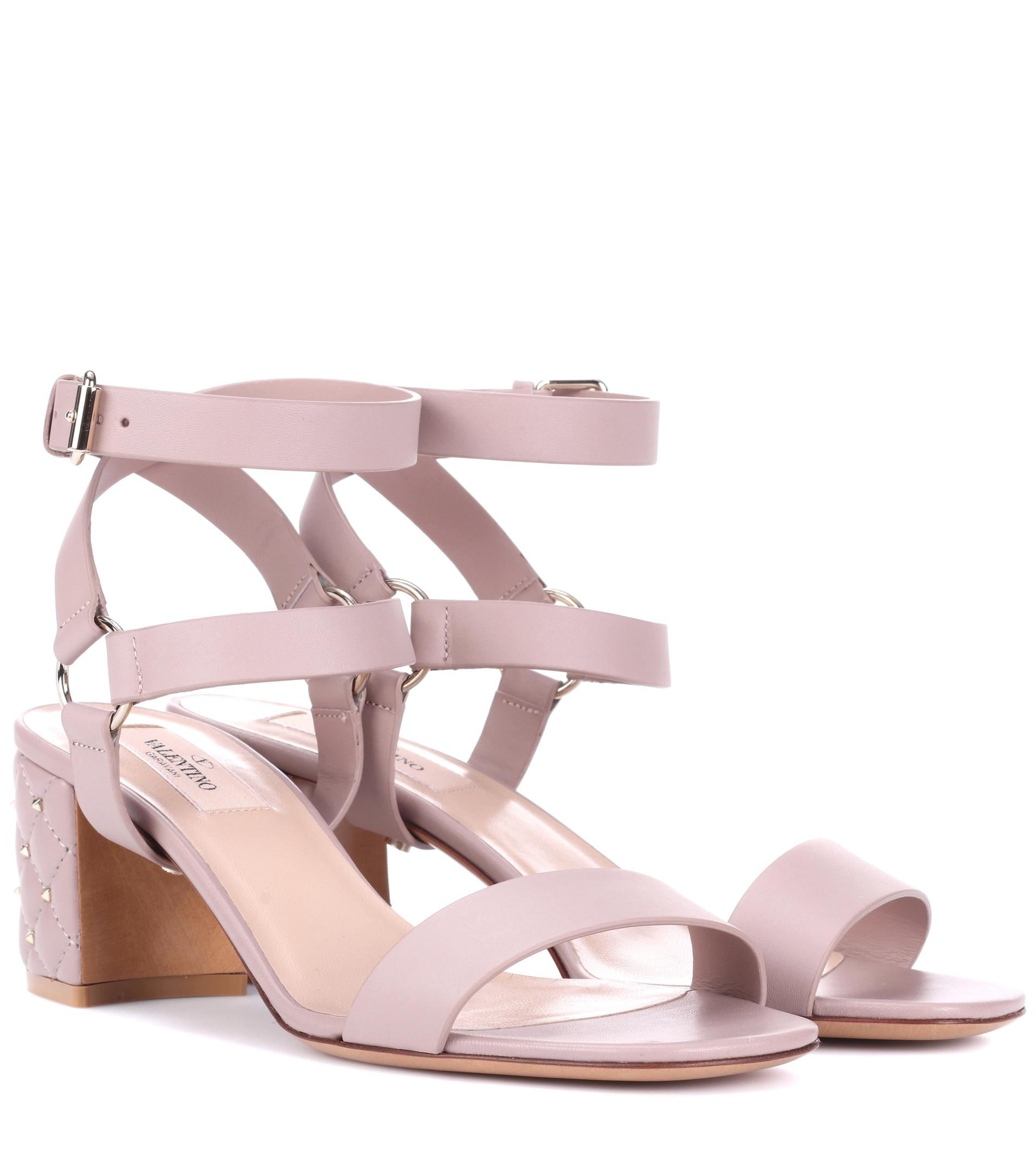 Valentino Garavani The Rockstud Leather And Suede Sandals - Pink Valentino 5A1WtKuUBl