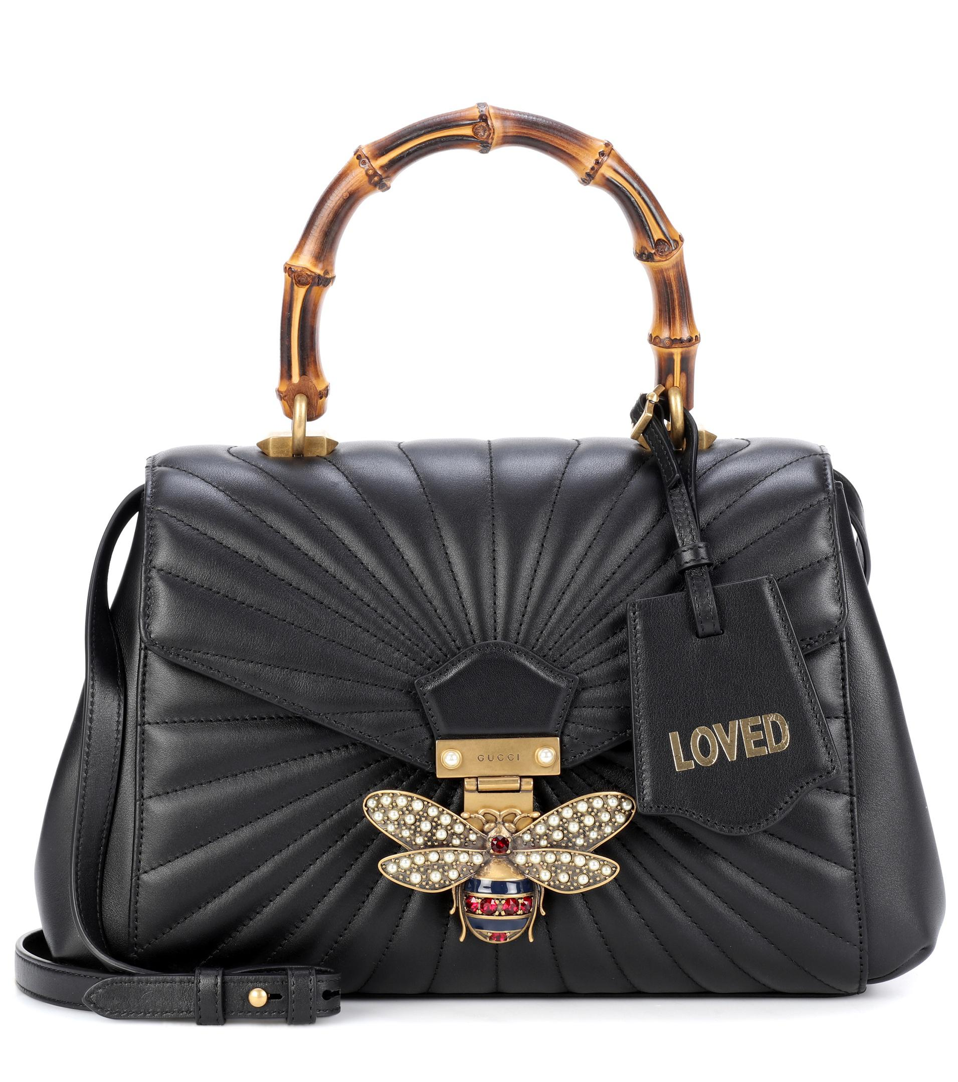 0082a80d2ee Gucci Queen Margaret Leather Top Handle Bag in Black - Lyst
