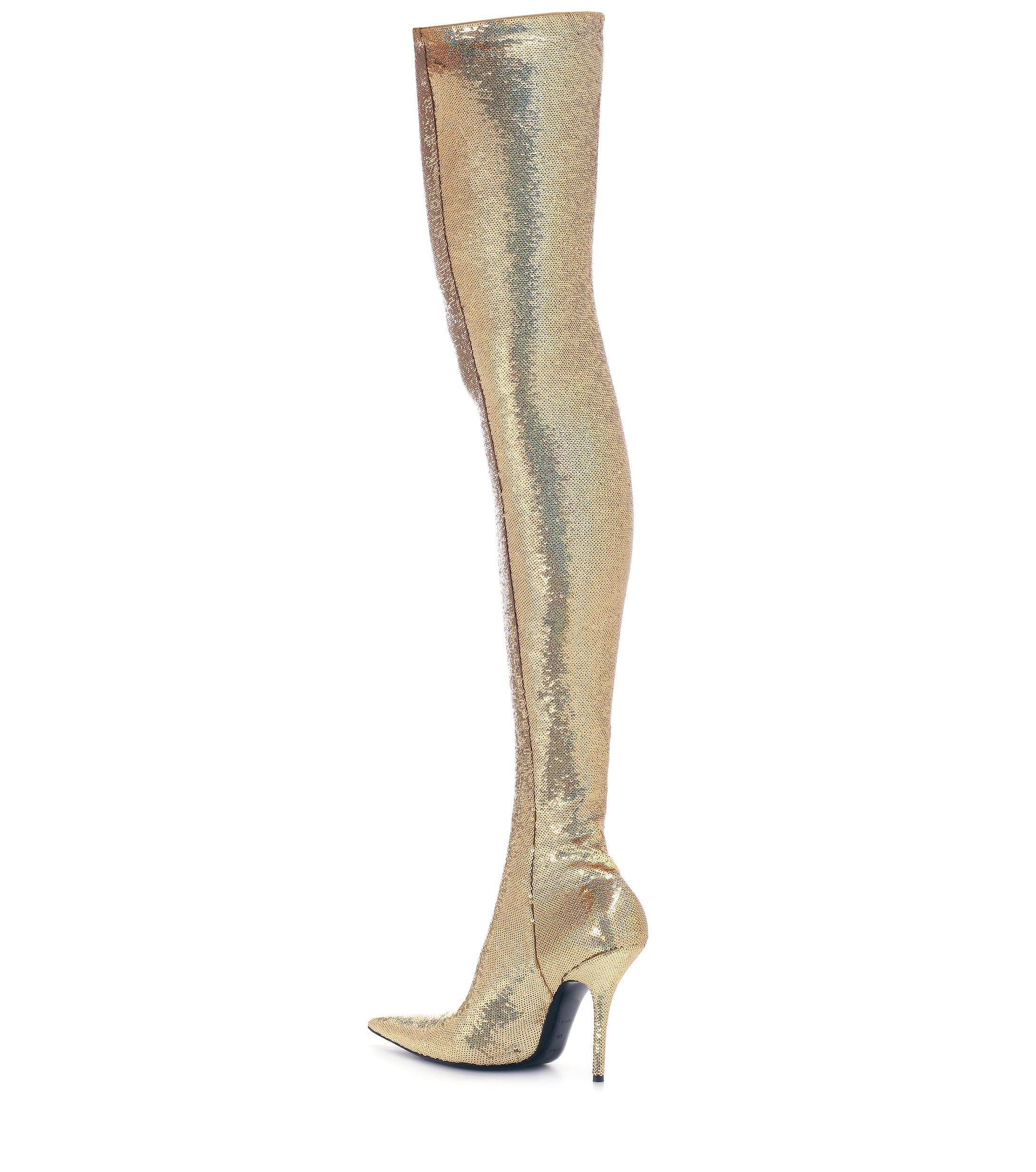 18c32a495436 Lyst - Balenciaga Knife Sequinned Over-the-knee Boots