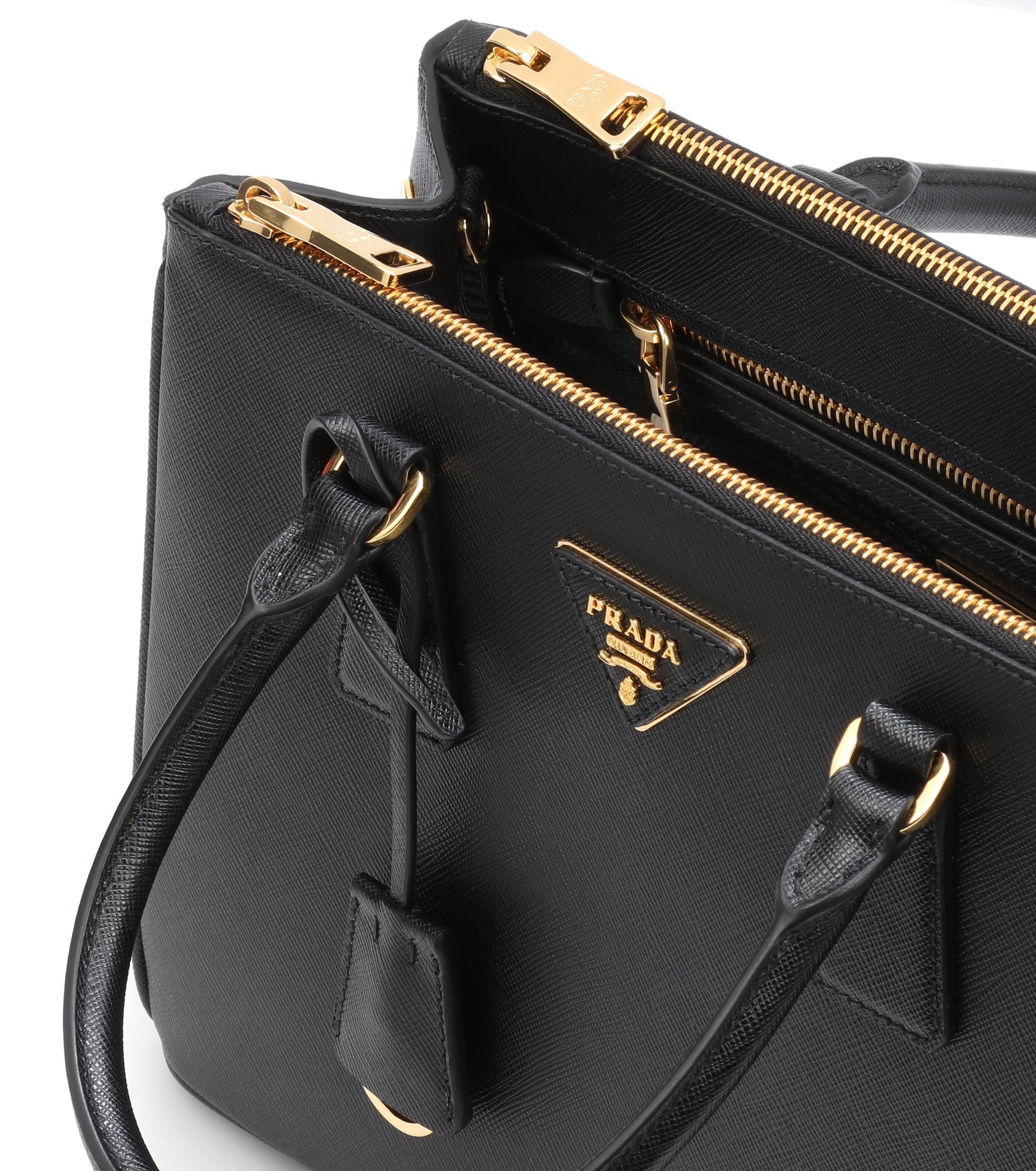 d9ec77d0df0337 Prada Galleria Saffiano Small Leather Shoulder Bag in Black - Lyst
