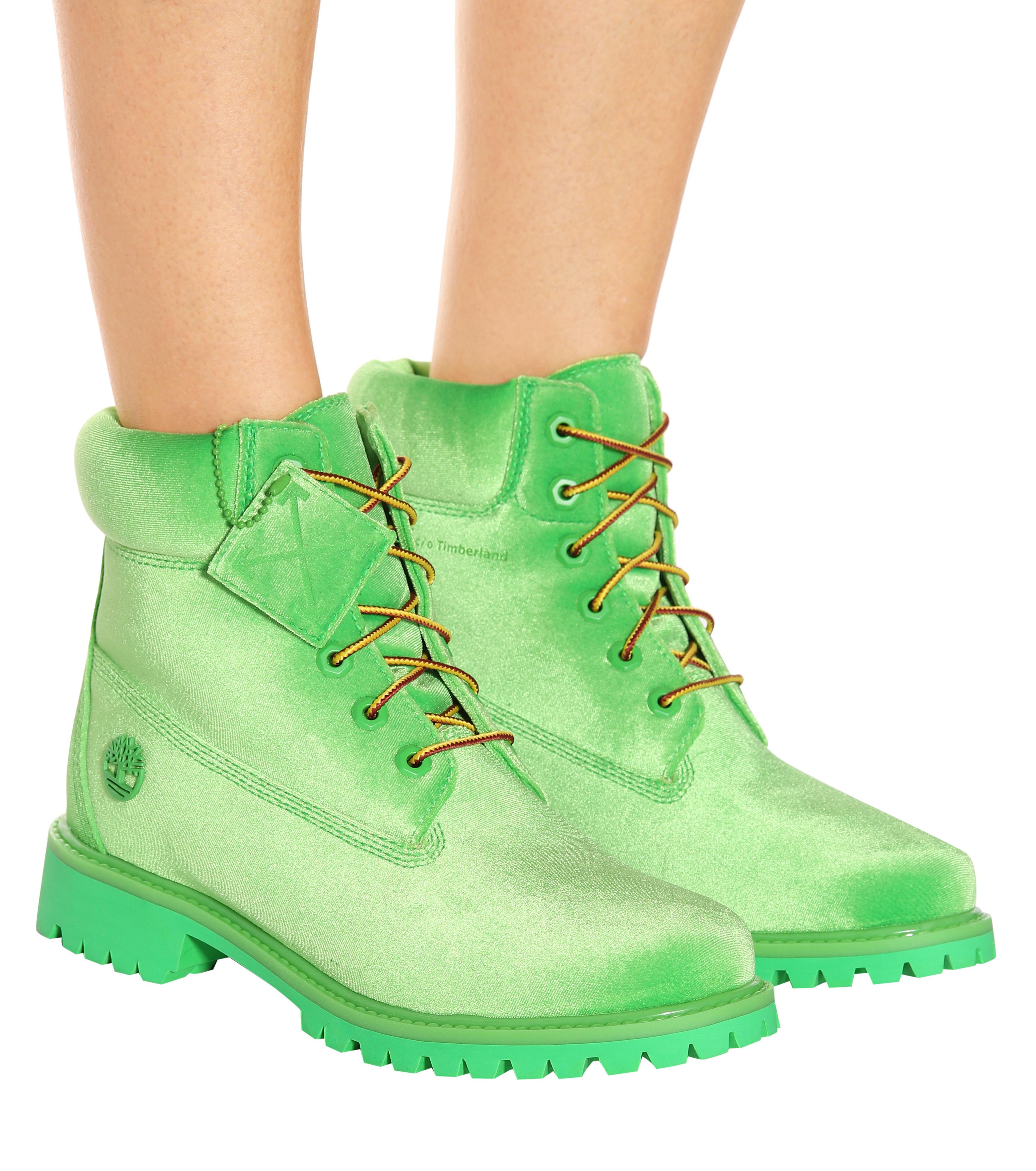 03b1b8322 Off-White c/o Virgil Abloh X Timberland Velvet Ankle Boots in Green ...