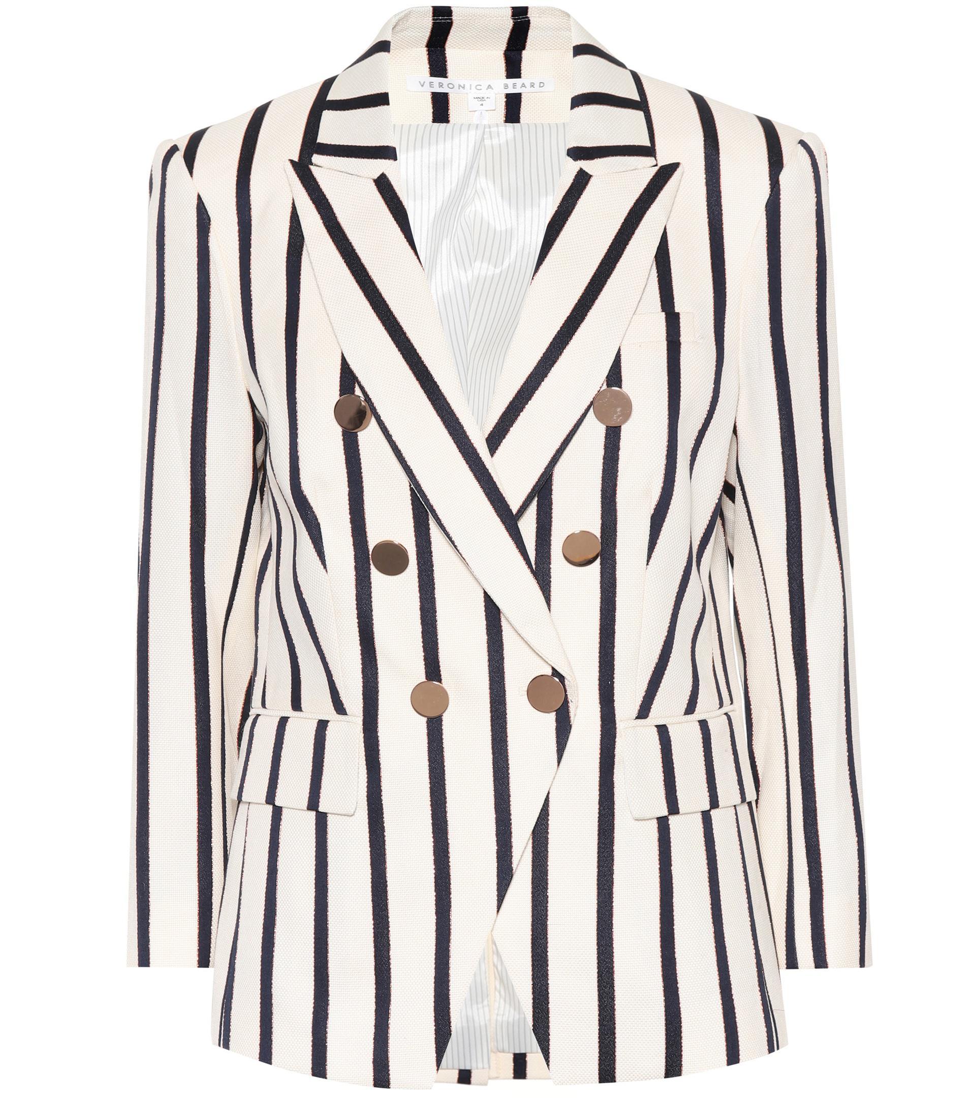 6bf81df90e3a Veronica Beard Empire Striped Dickey Blazer in White - Lyst