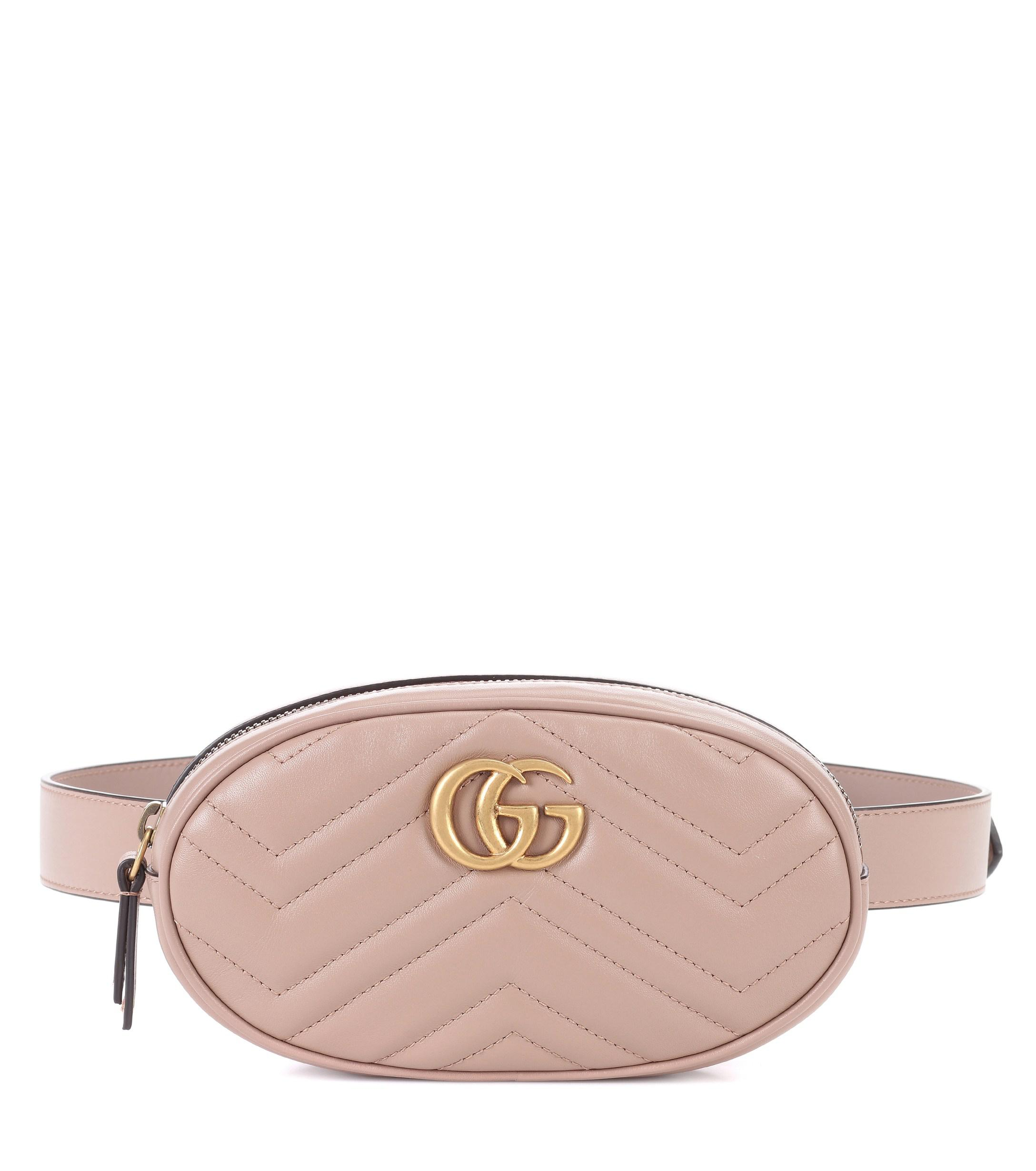 4ef09b33e28348 Gucci GG Marmont Leather Belt Bag in Natural - Lyst