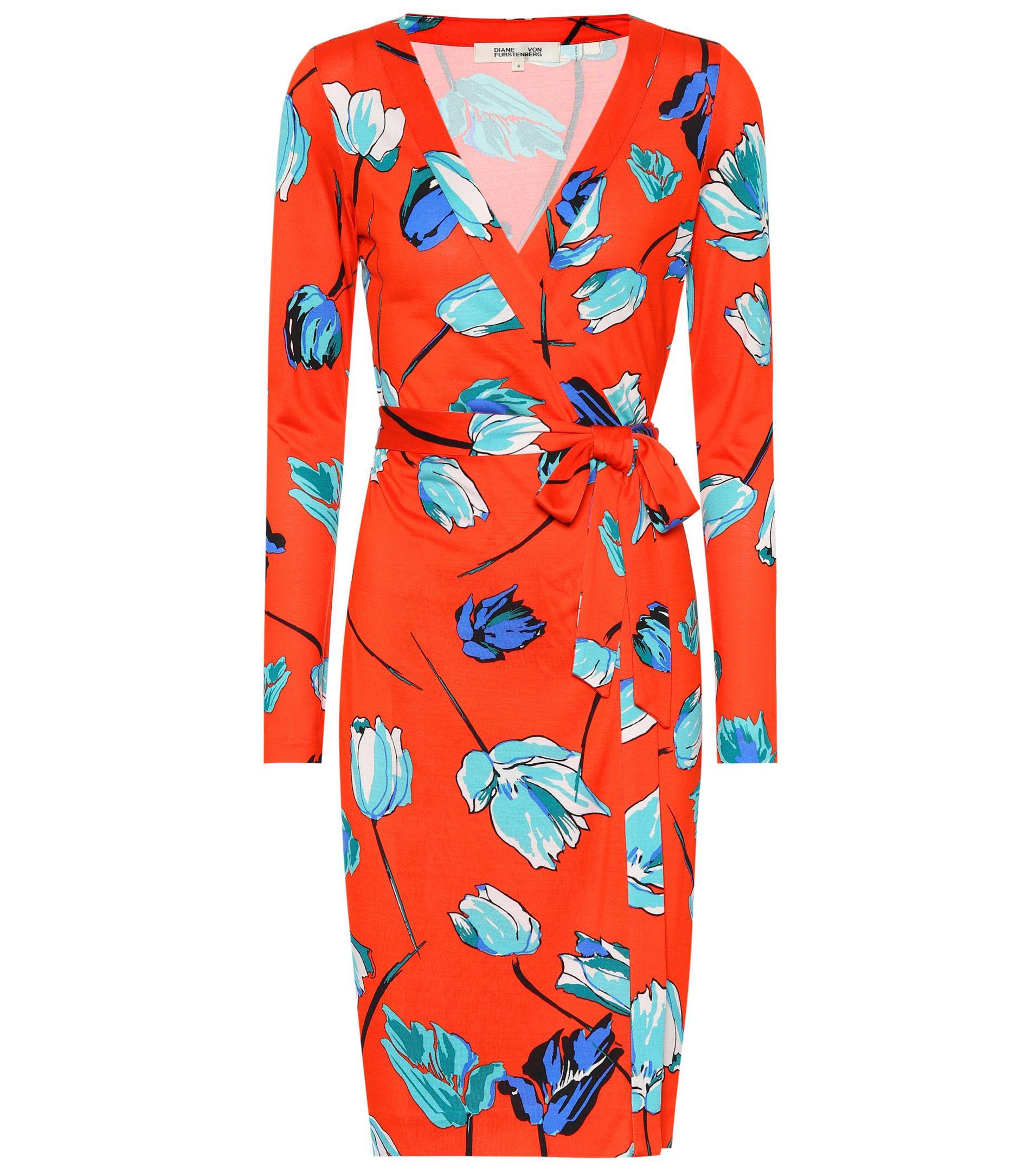 1ebd1e886321 Diane von Furstenberg Julian Silk Jersey Wrap Dress in Red - Lyst