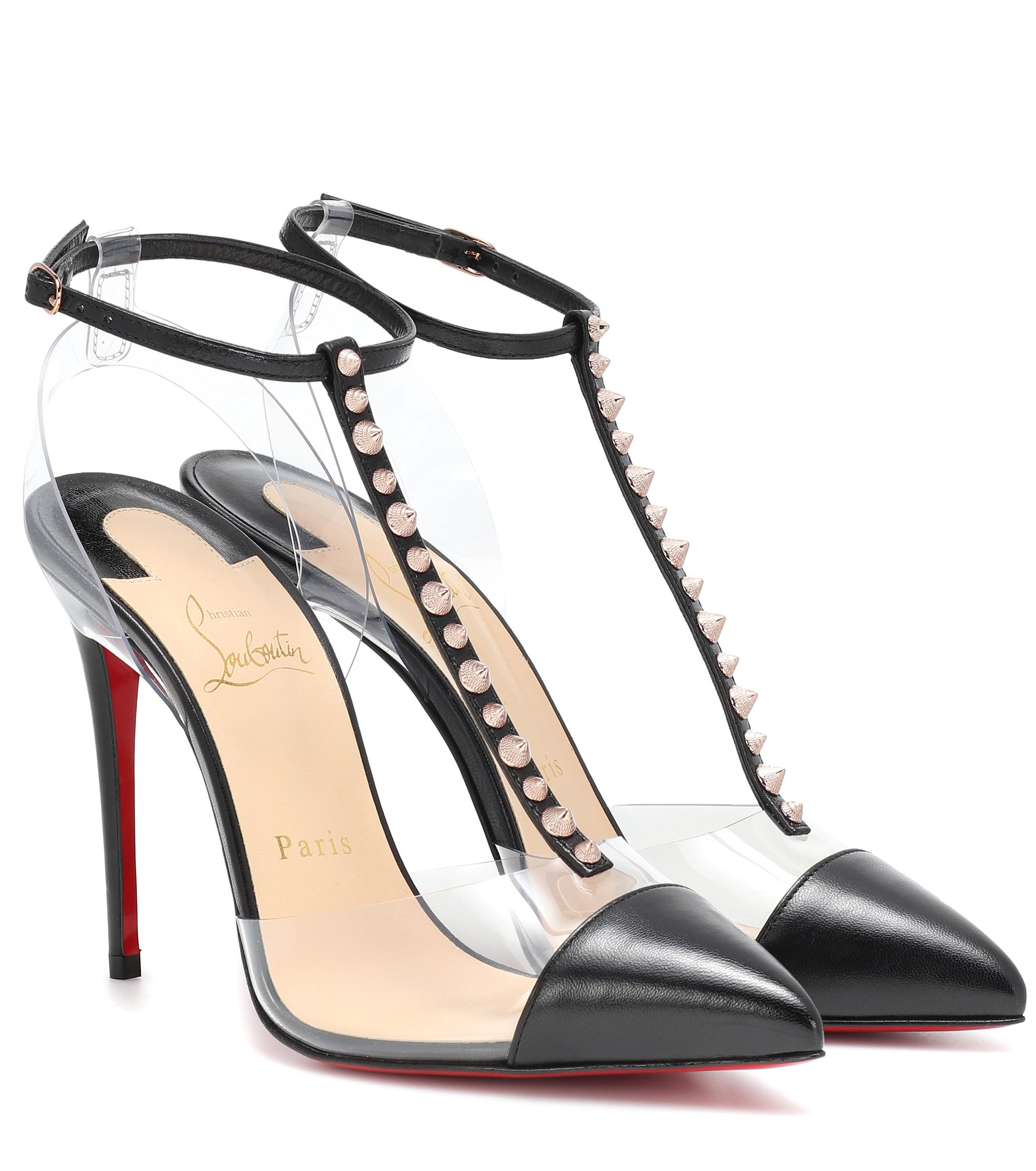 b72cd29eb0 Christian Louboutin Nosy Spikes Pvc And Leather Pumps in Black - Lyst