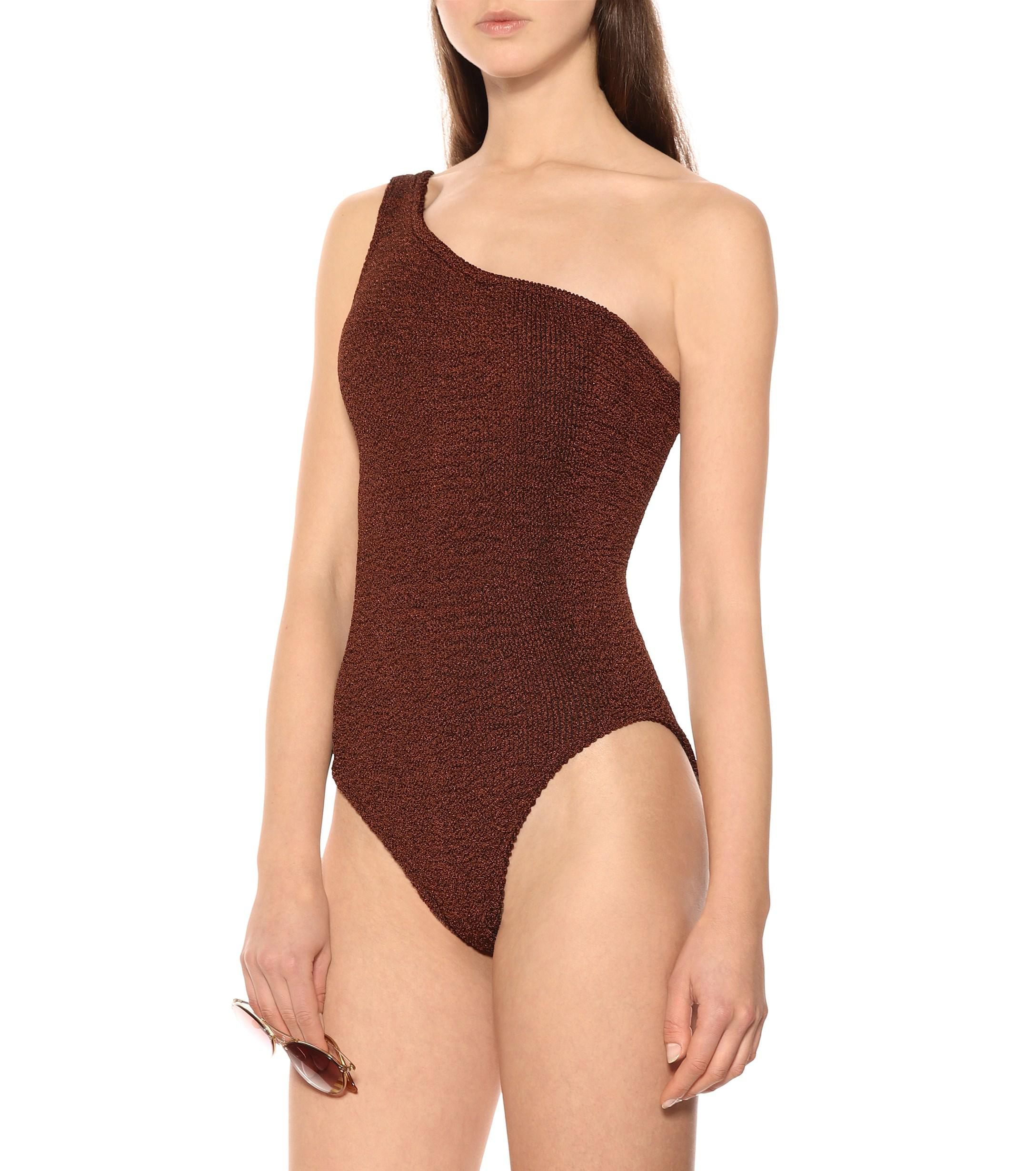 613b77e6579a5 Hunza G - Brown Nancy One-piece Swimsuit - Lyst. View fullscreen