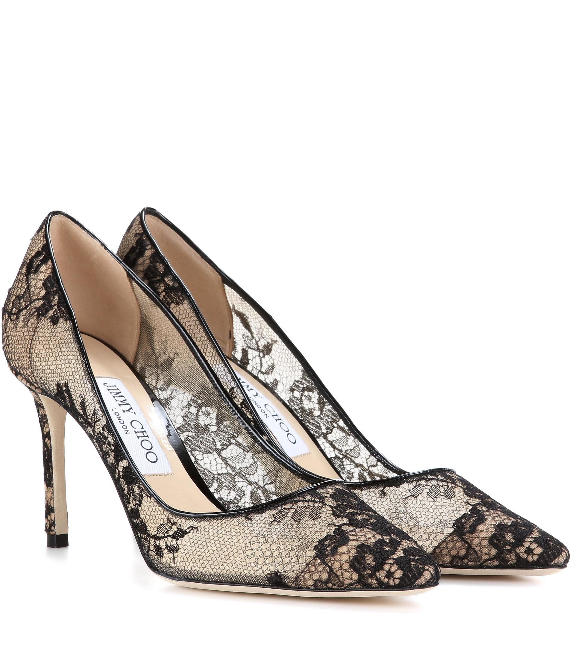 5ca097948 Jimmy Choo Romy 85 Lace Pumps in Black - Save 30% - Lyst