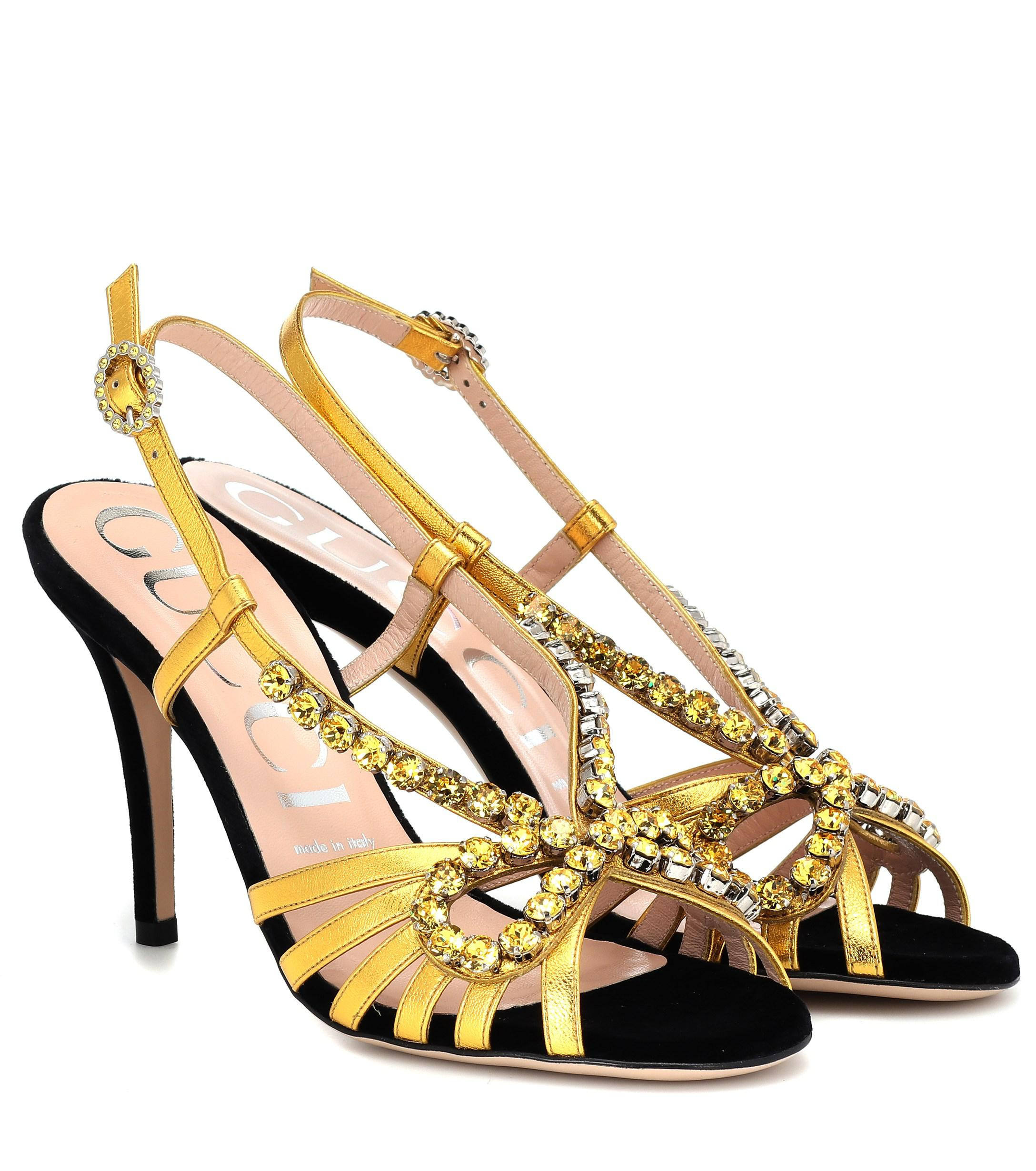 6f97d5d2b0c Lyst - Gucci Embellished Metallic Leather Sandals in Metallic
