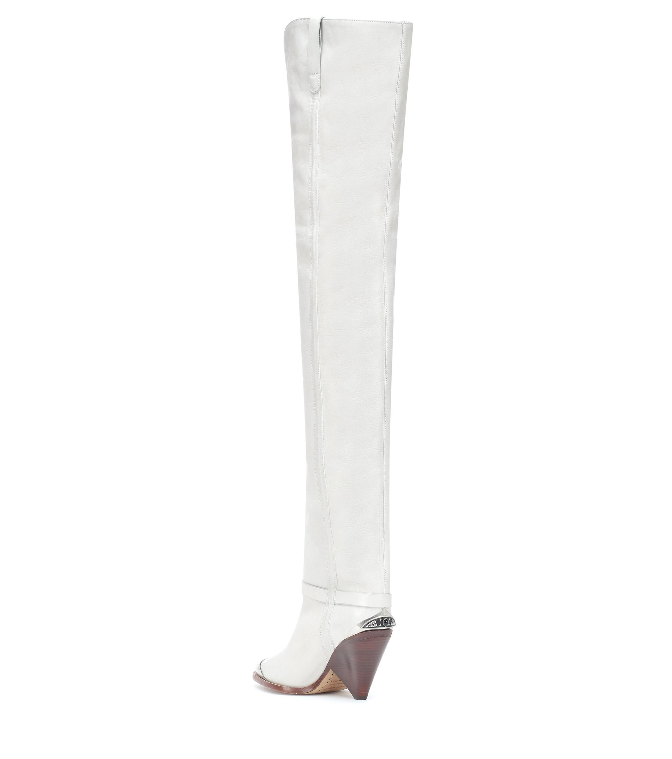 32a4ca2be75 Isabel Marant - White Lafsten Over-the-knee Boots - Lyst. View fullscreen