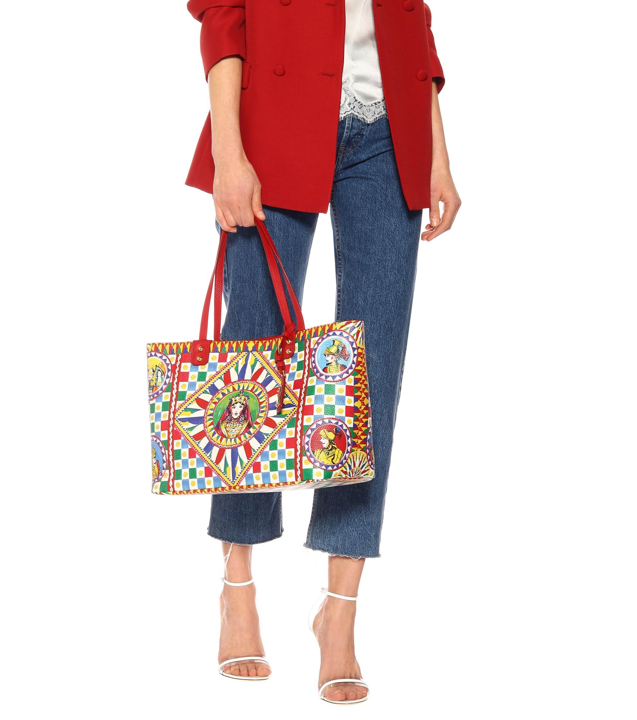 Dolce   Gabbana - Red Beatrice Printed Leather Tote - Lyst. View fullscreen 82ac58e47e