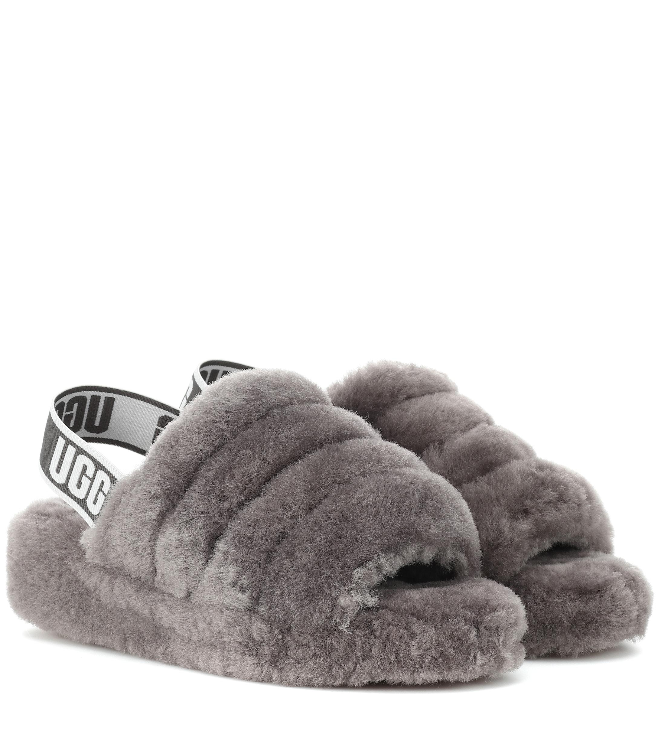 a4633a69fc02 Lyst - UGG Fluff Yeah Fur Slides in Gray