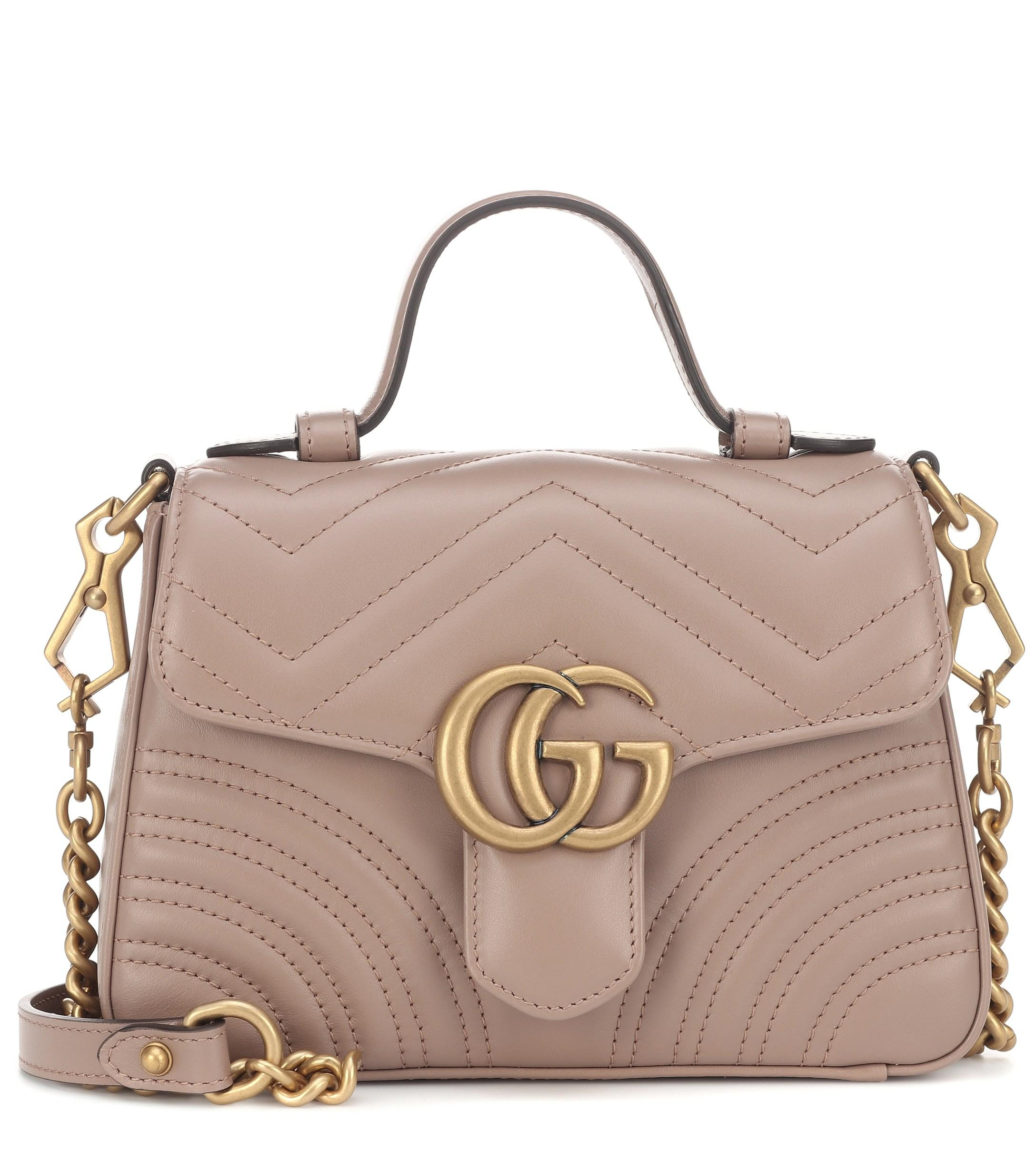 1849c510499e Gucci GG Marmont Mini Top Handle Bag Porcel Rose in Natural - Save ...