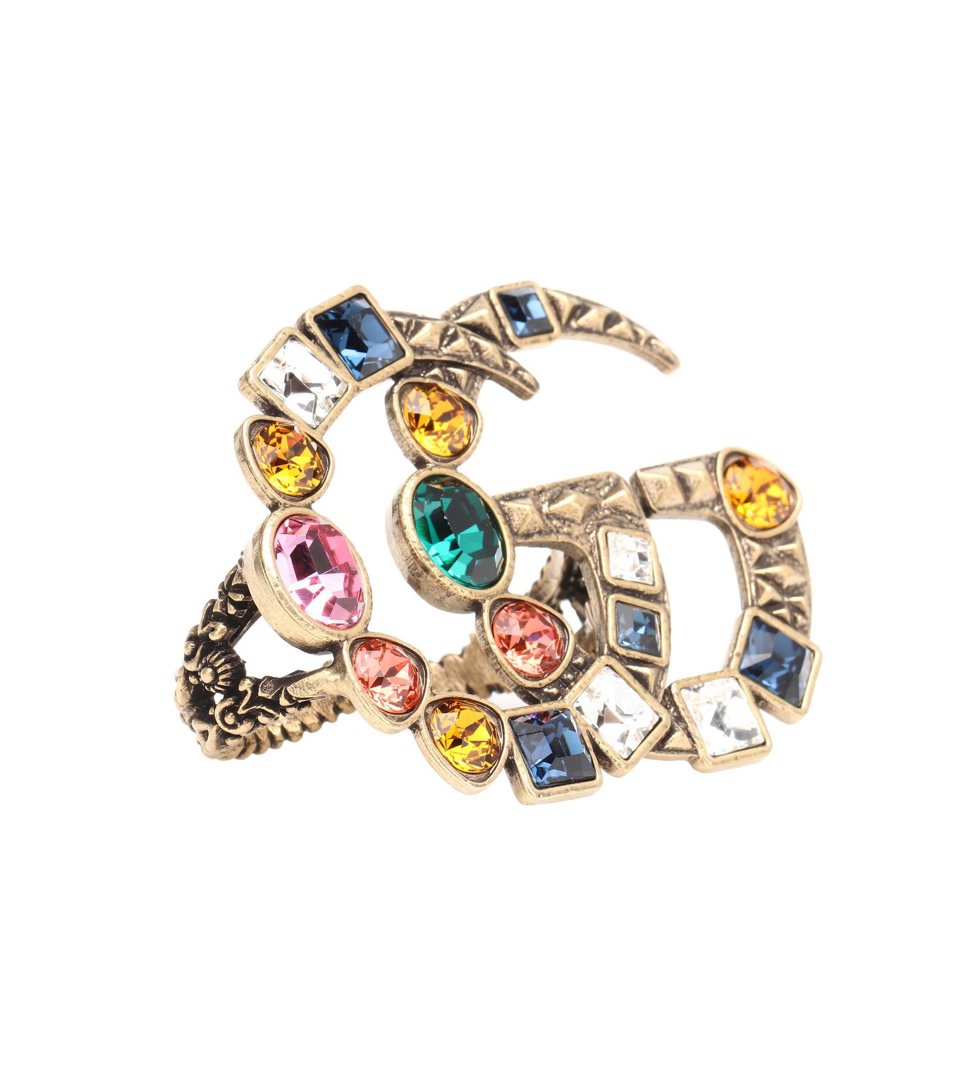 Gucci Crystal Interlocking G flower multi-finger ring 55ma90e