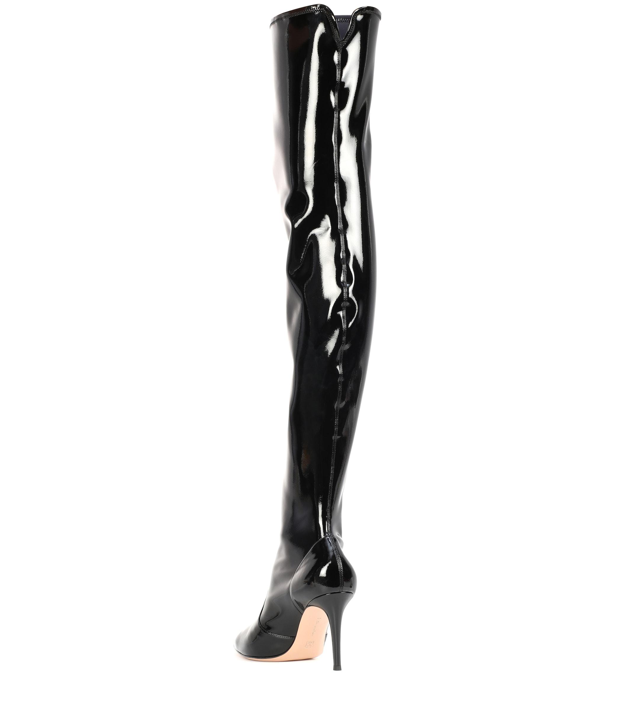 1d9fbc75d3c Gianvito Rossi - Black Imogen Vinyl Over-the-knee Boots - Lyst. View  fullscreen