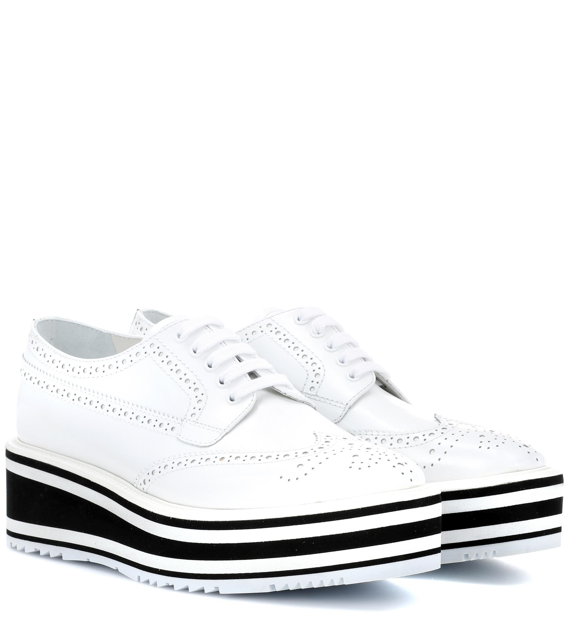 c6abb4265bb1 Prada Wingtip Leather Platform Brogues in White - Lyst