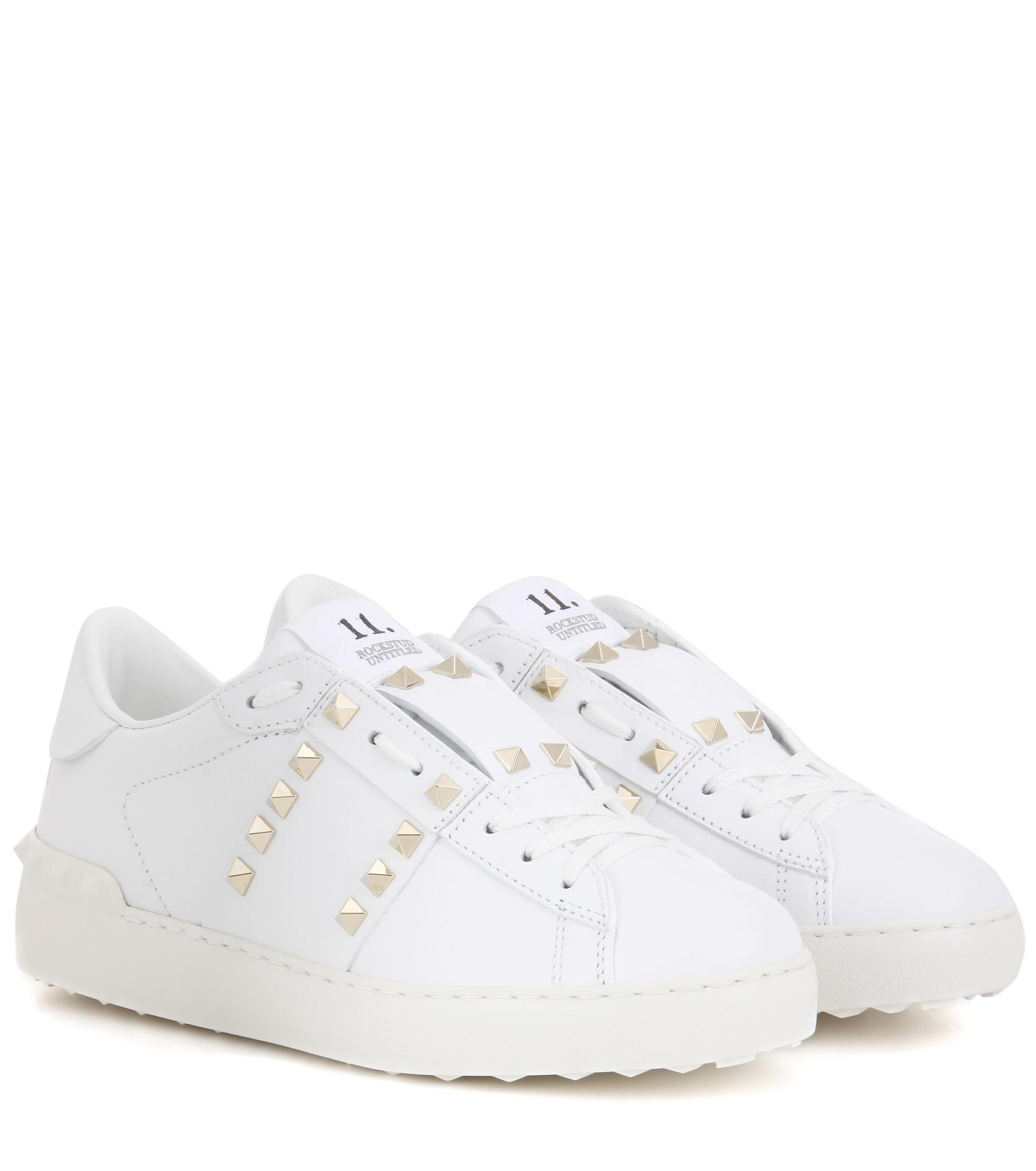 Garavani Rockstud Untitled Leather Sneakers Valentino