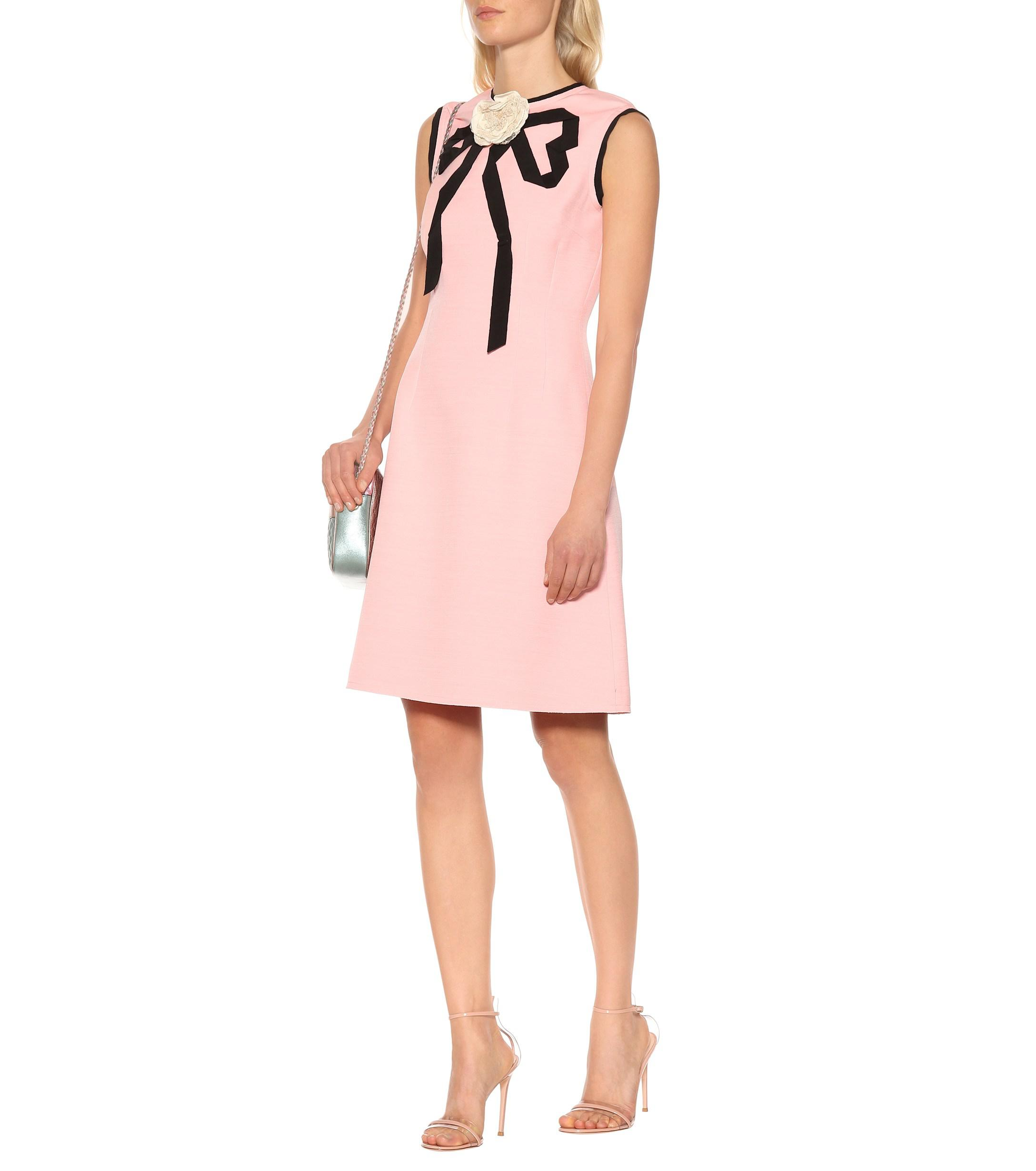 c930f950c86 Gucci Wool And Silk Crêpe Dress in Pink - Lyst