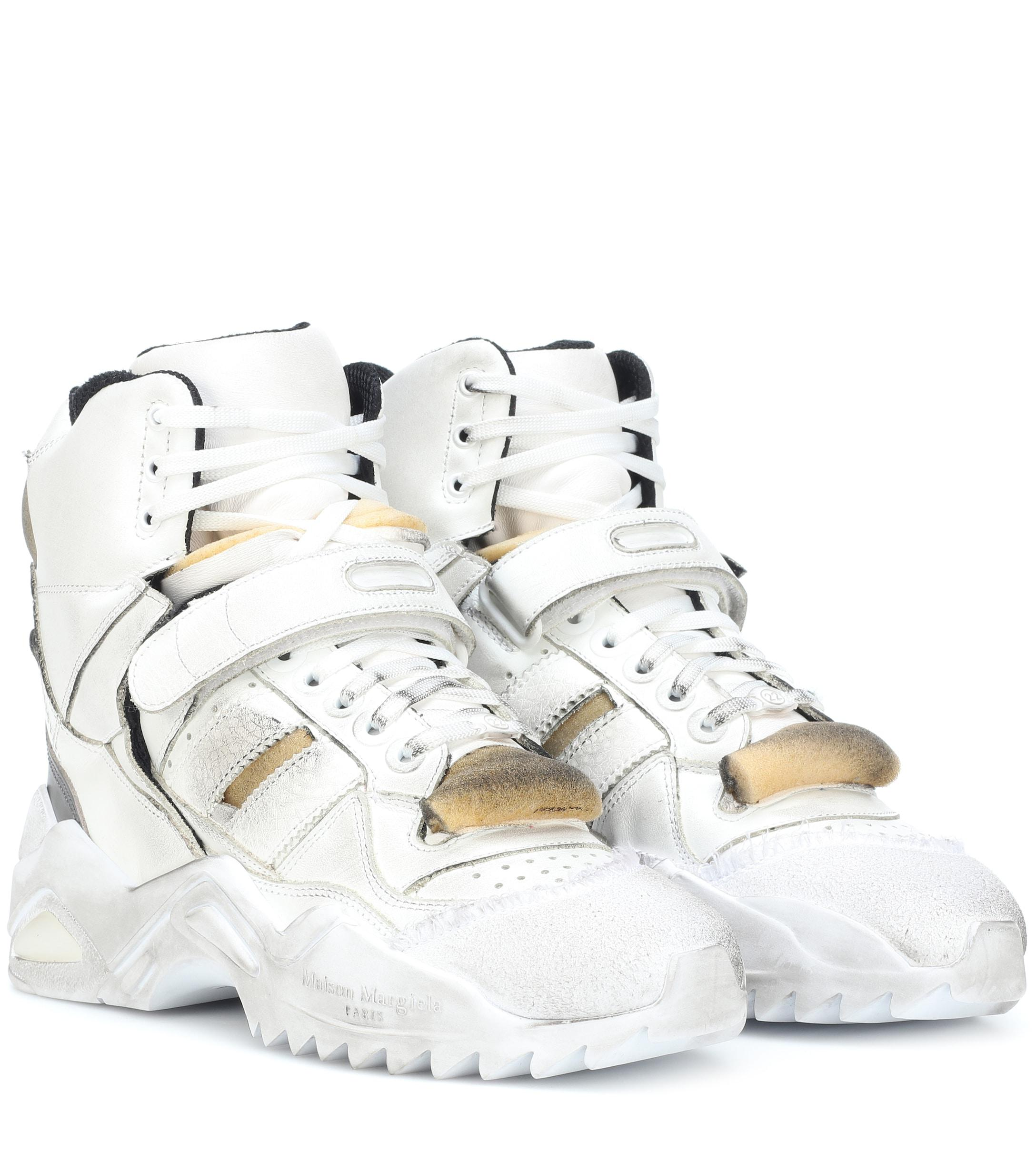 f75190c5d60d3 Maison Margiela Retro Fit Leather High-top Sneakers in White - Lyst