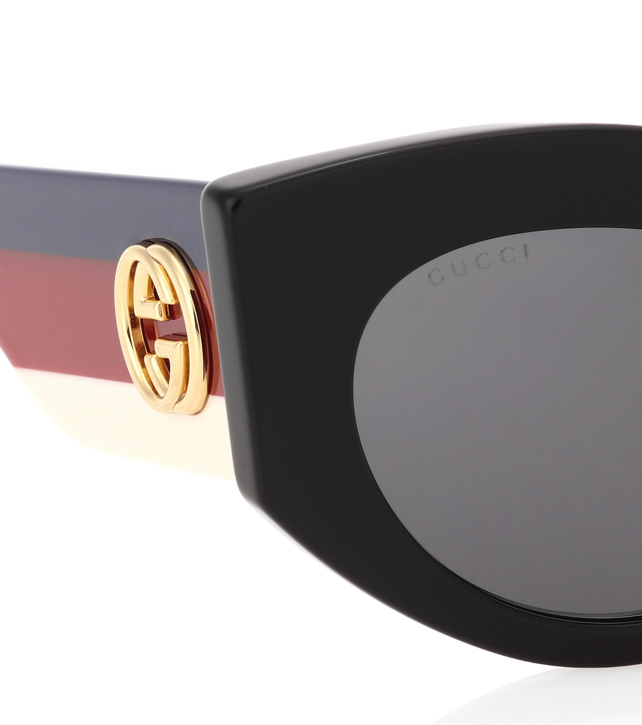 306a467447 Gucci - Black Oversized Cat-eye Sunglasses - Lyst. View fullscreen