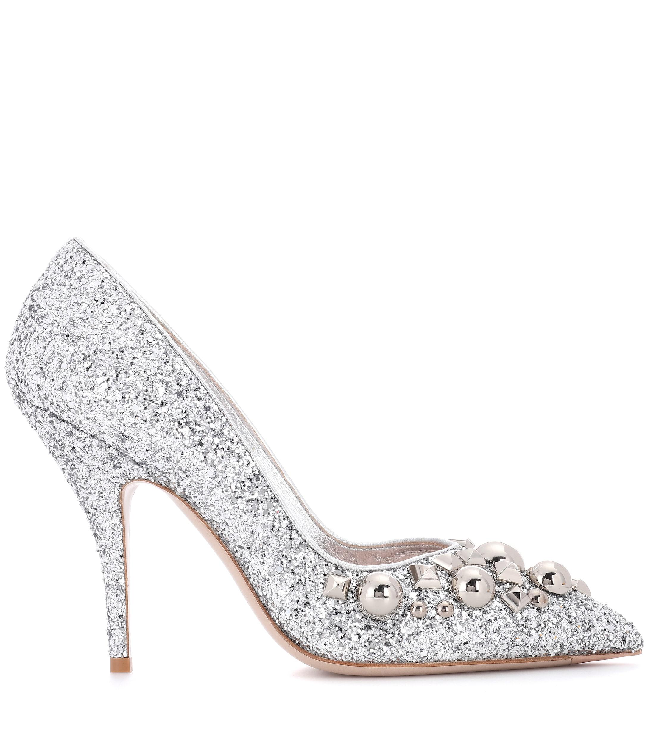 917e2144e9c Lyst - Miu Miu Studded Glitter Pumps in Metallic