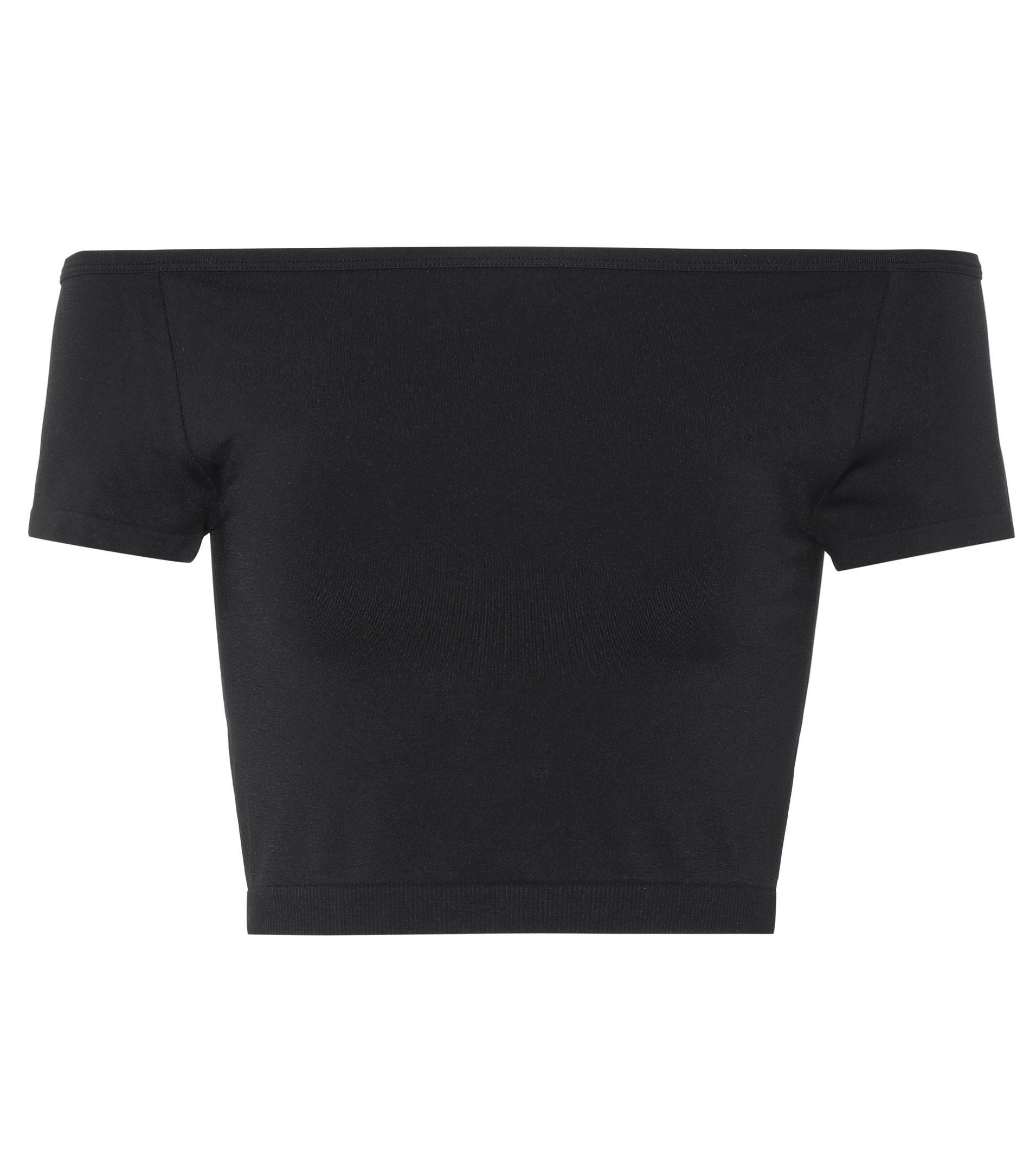 9e13c174dd788c Lyst - Helmut Lang Off-the-shoulder Crop Top in Black