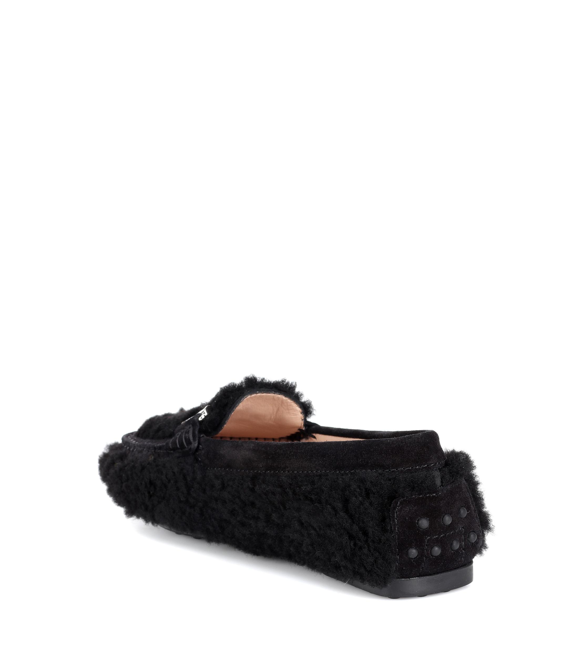 1b0fae36236 Tod s - Black Double T Shearling Loafers - Lyst. View fullscreen