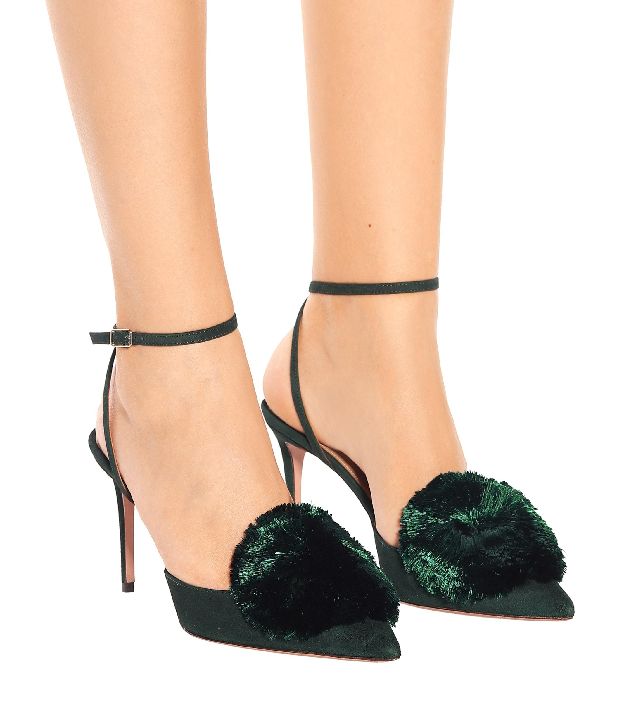 adc783cc1 Aquazzura Green Powder Puff 85 Silk And Leather Pumps in Green - Lyst